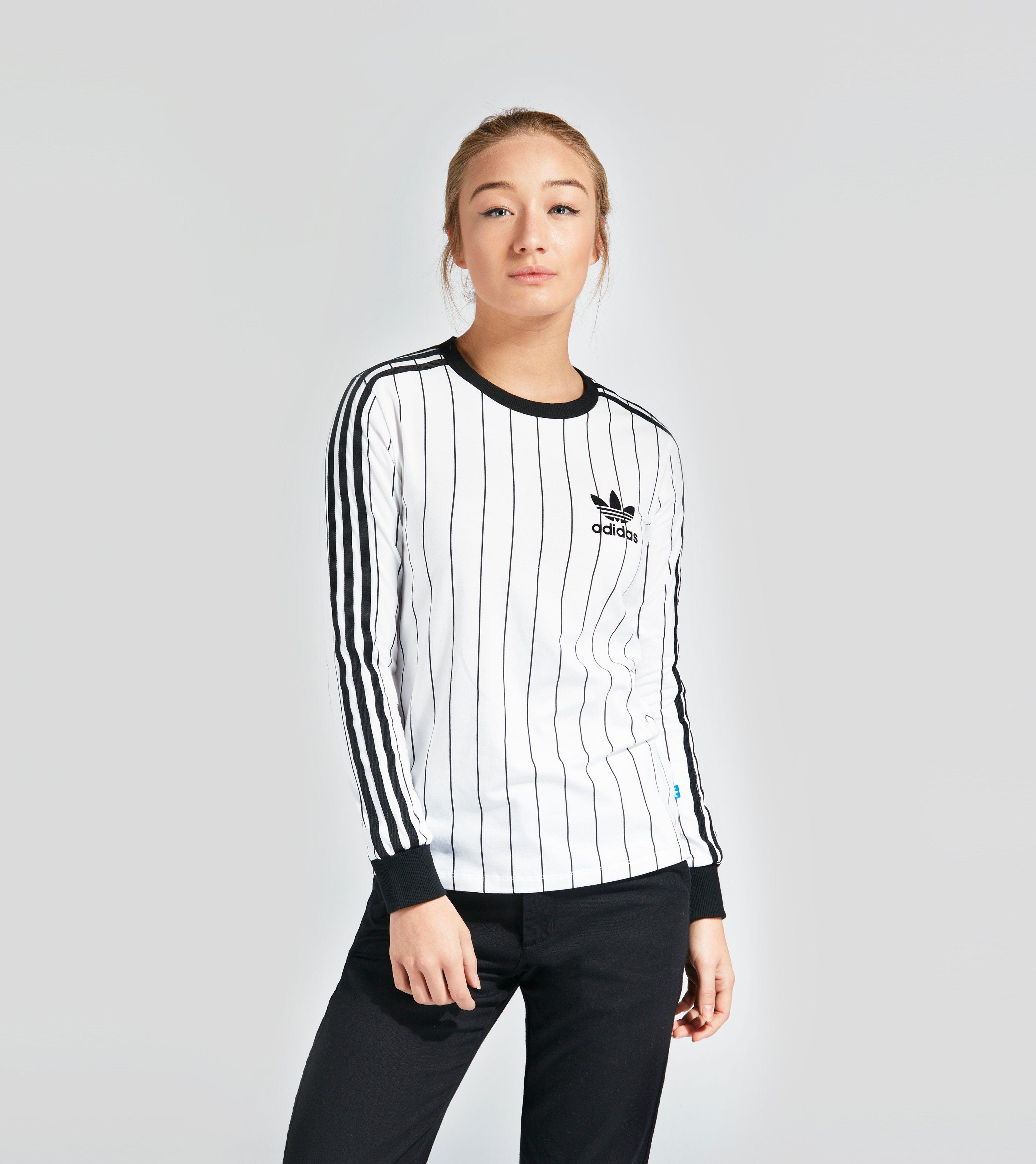 Adidas originals 3 stripe long sleeve t shirt women 39 s size for Women s turquoise long sleeve shirt