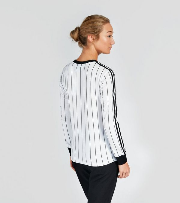 Adidas originals 3 stripe long sleeve t shirt women 39 s size for Black and white striped long sleeve shirt women