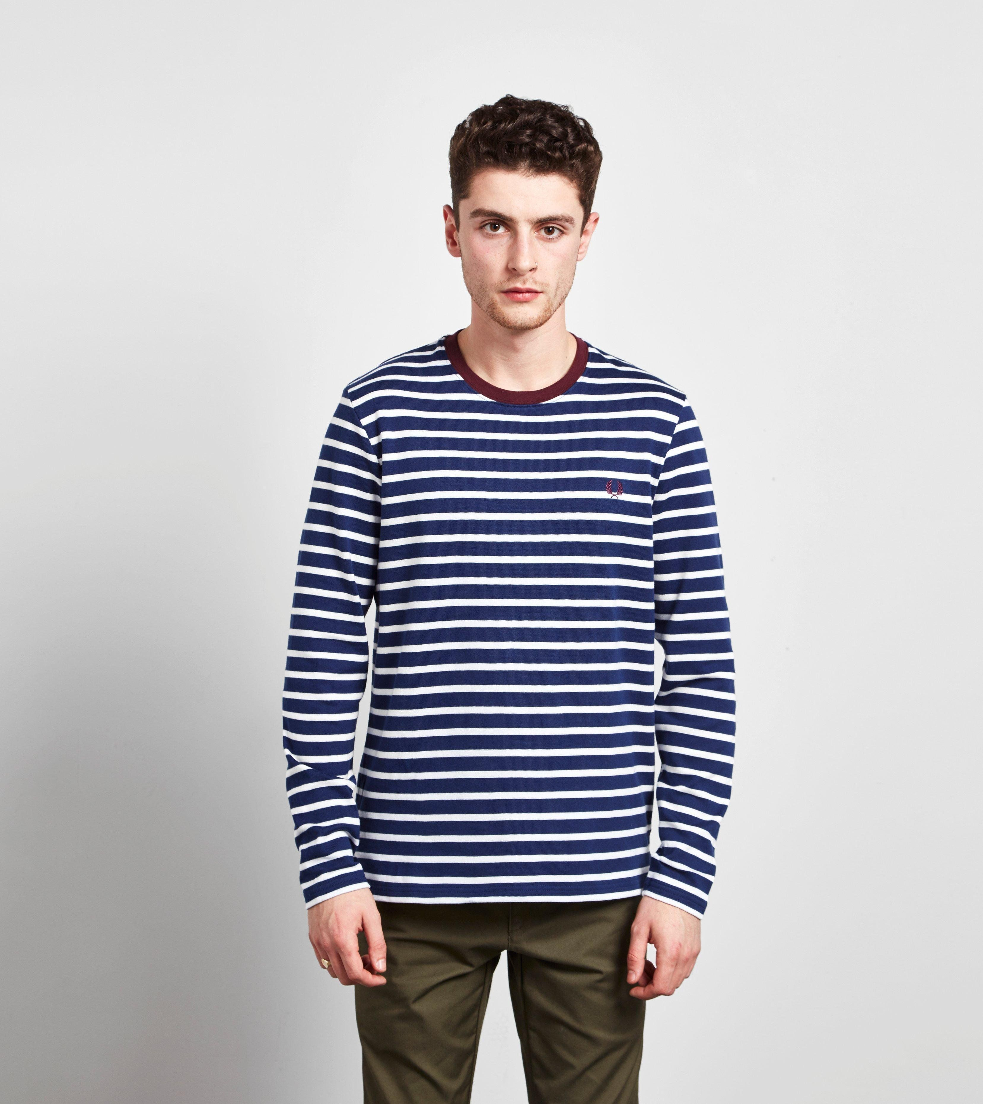 Fred Perry Breton Stripe Long Sleeved T Shirt Size