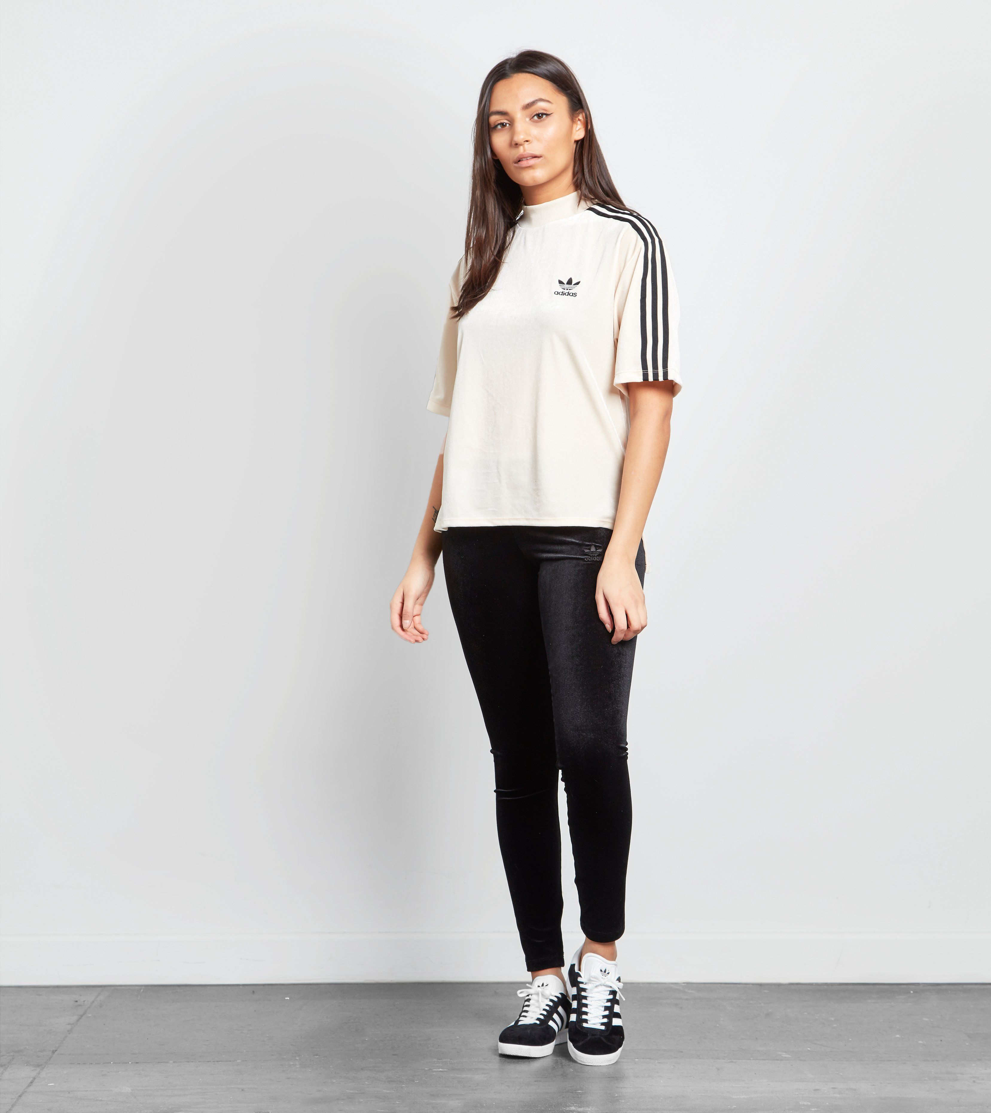 adidas Originals 3 Stripe Mock Neck Velvet T-Shirt