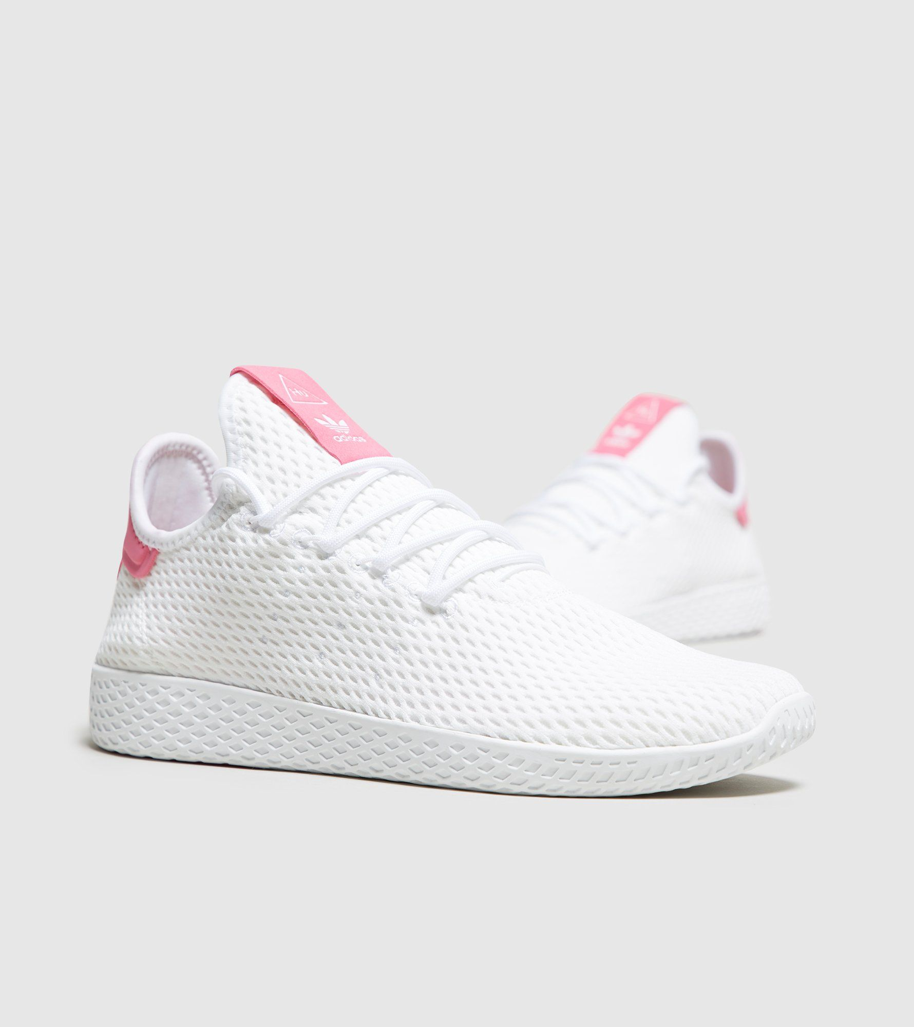 adidas Pharrell Williams Tennis Hu Sneakers In White And Pink