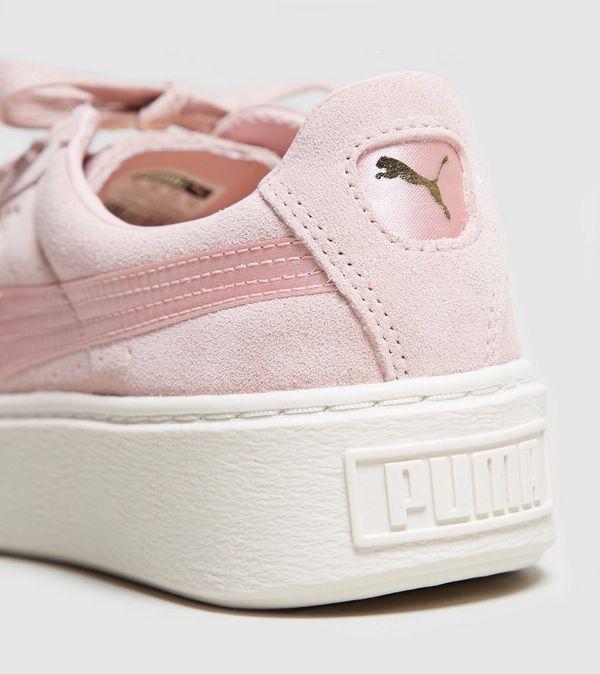 puma suede platform satin rosa