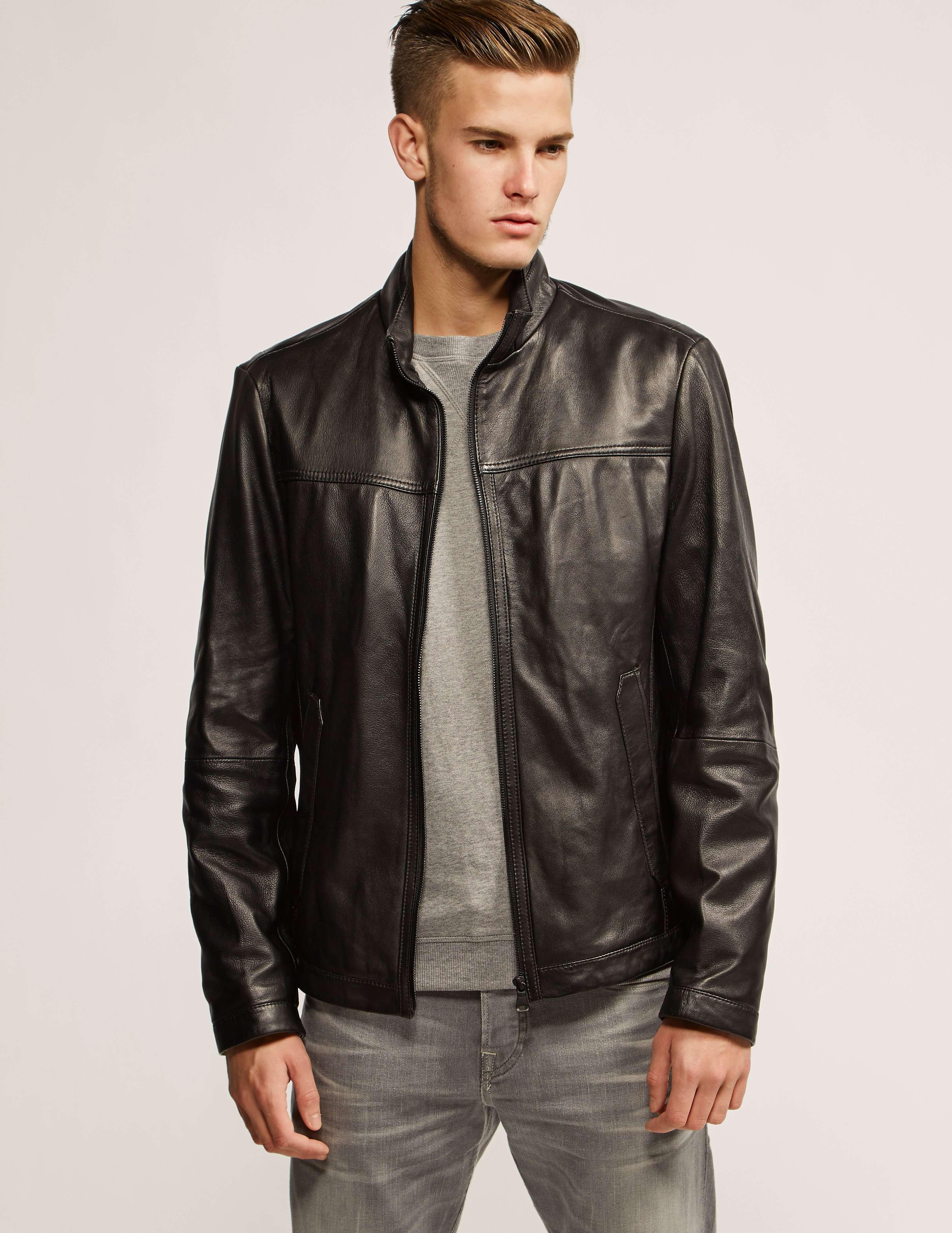 boss nilas leather jacket tessuti. Black Bedroom Furniture Sets. Home Design Ideas