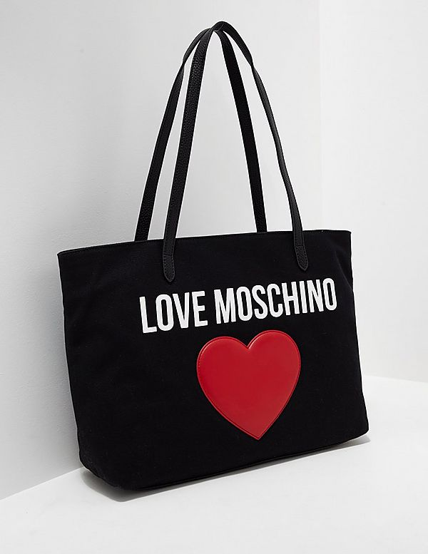 love moschino heart shopper bag tessuti. Black Bedroom Furniture Sets. Home Design Ideas