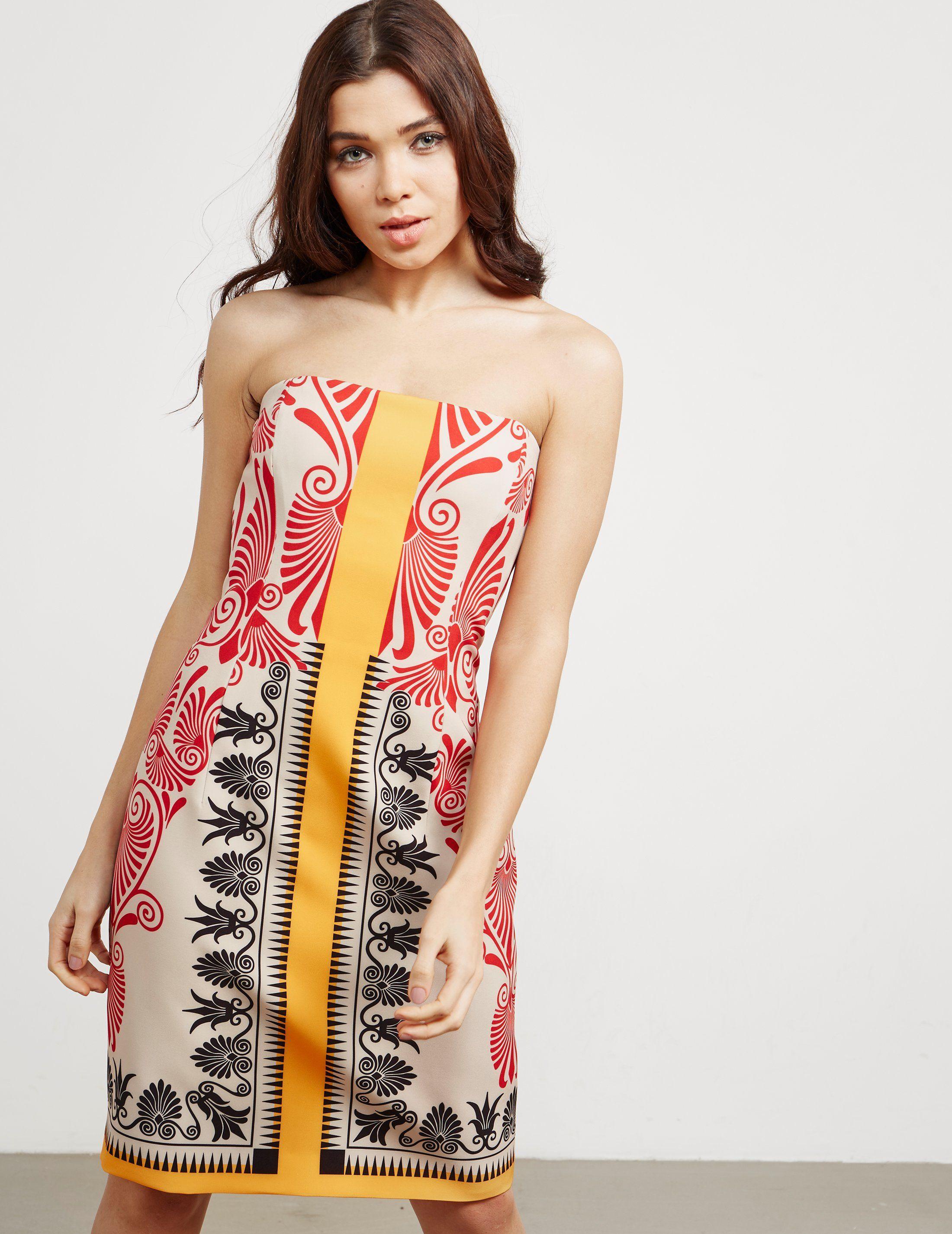 Versace Strapless Print Dress