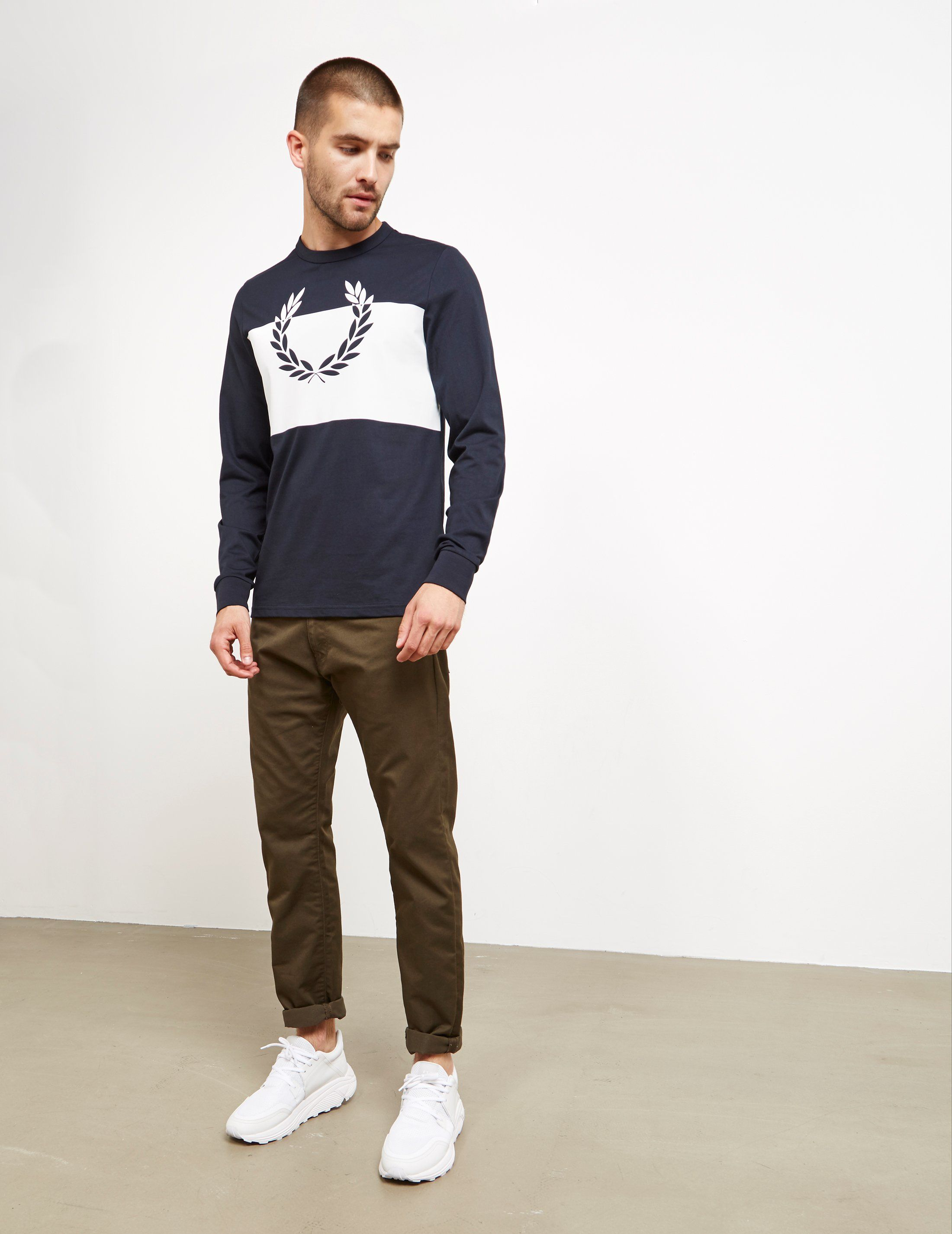Fred Perry Colour Block Laurel Long Sleeve T-Shirt