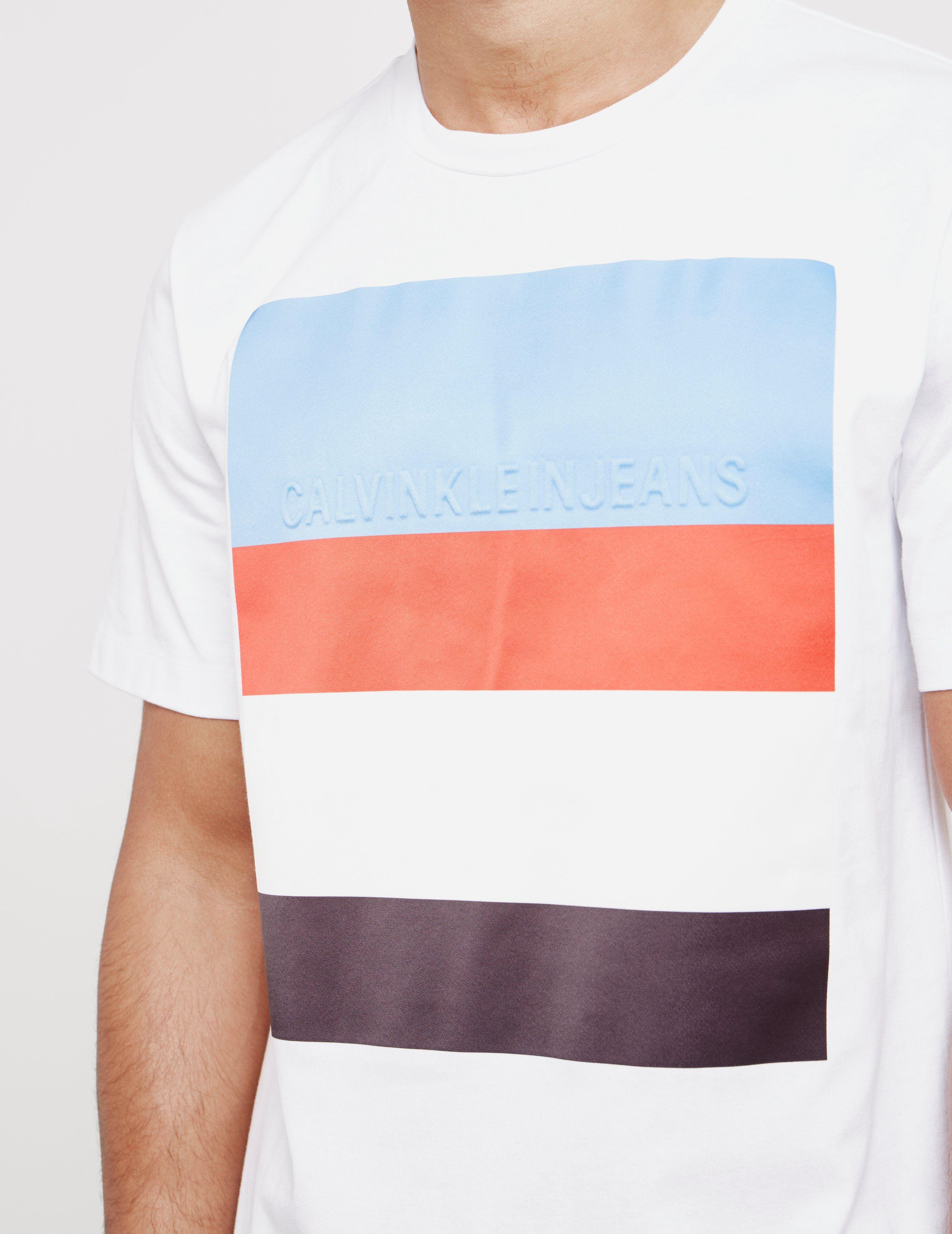 Calvin Klein Stripe Logo Short Sleeve T-Shirt
