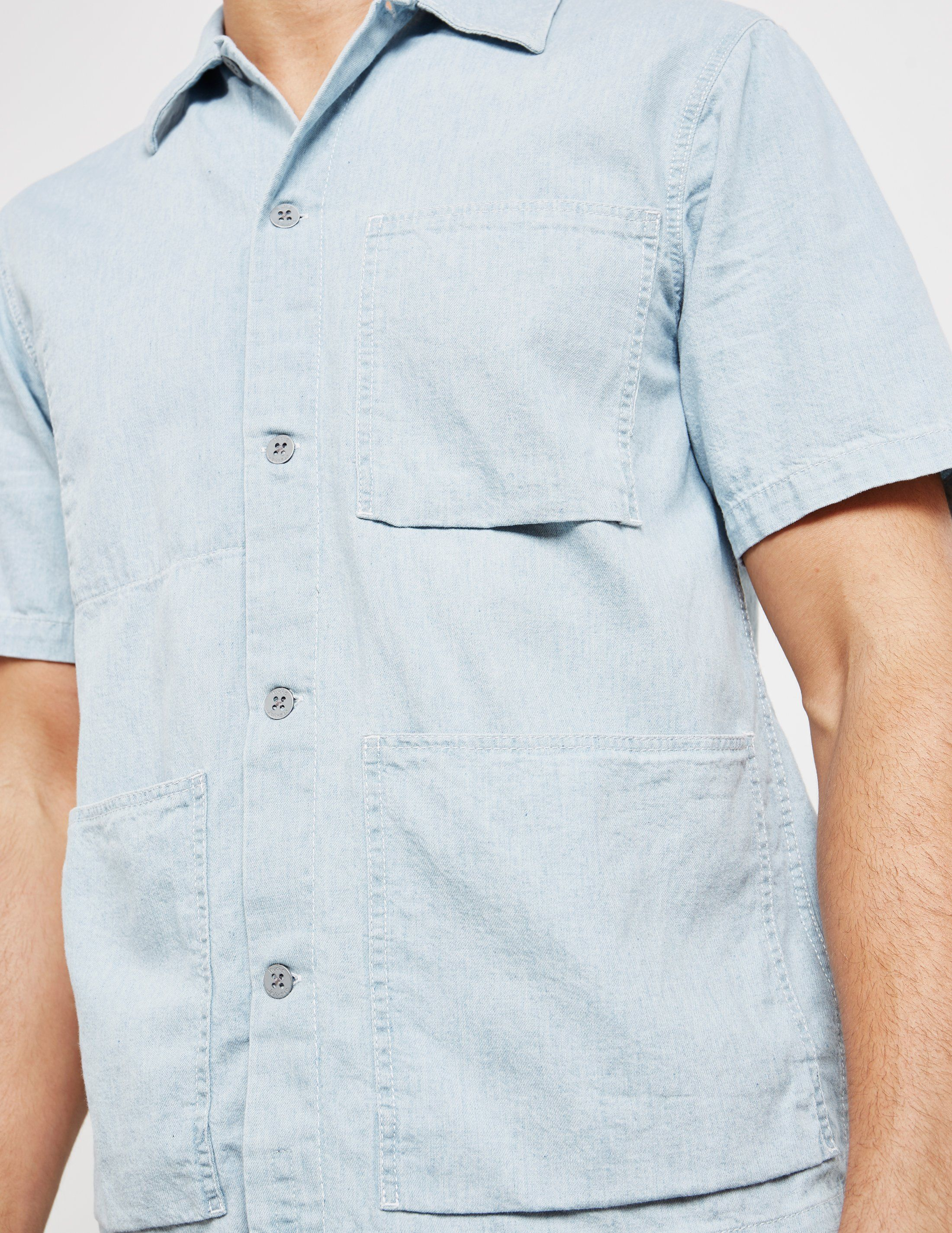 Nudie Jeans Denim Worker Short Sleeve Shirt