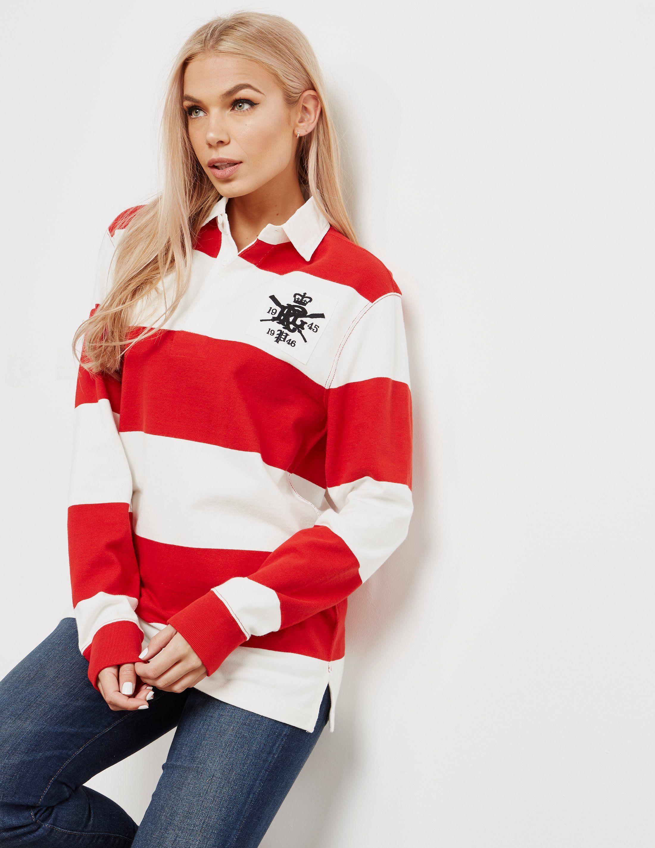 Polo Ralph Lauren Stripe Rugby Long Sleeve Polo Shirt