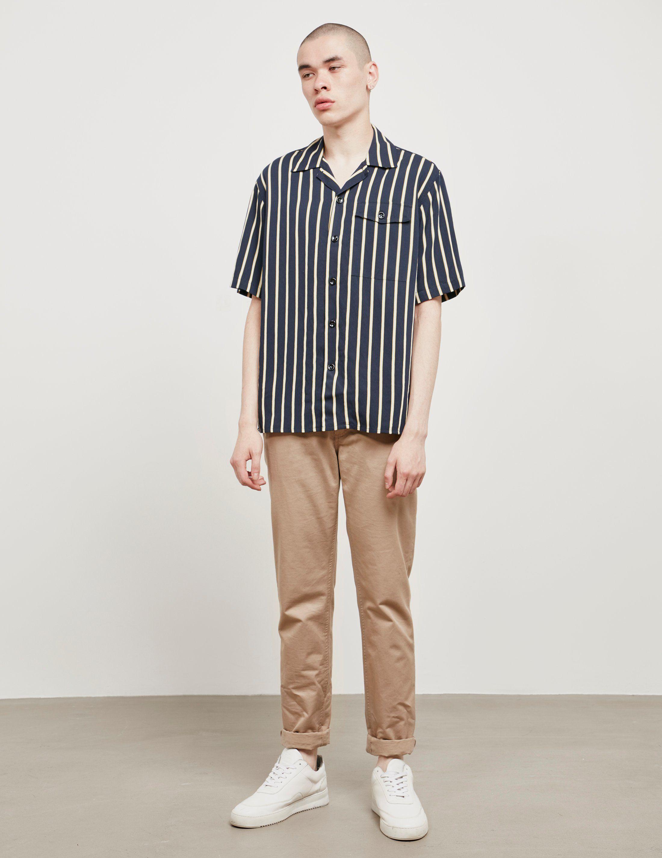 AMI Paris Stripe Short Sleeve Shirt - Online Exclusive