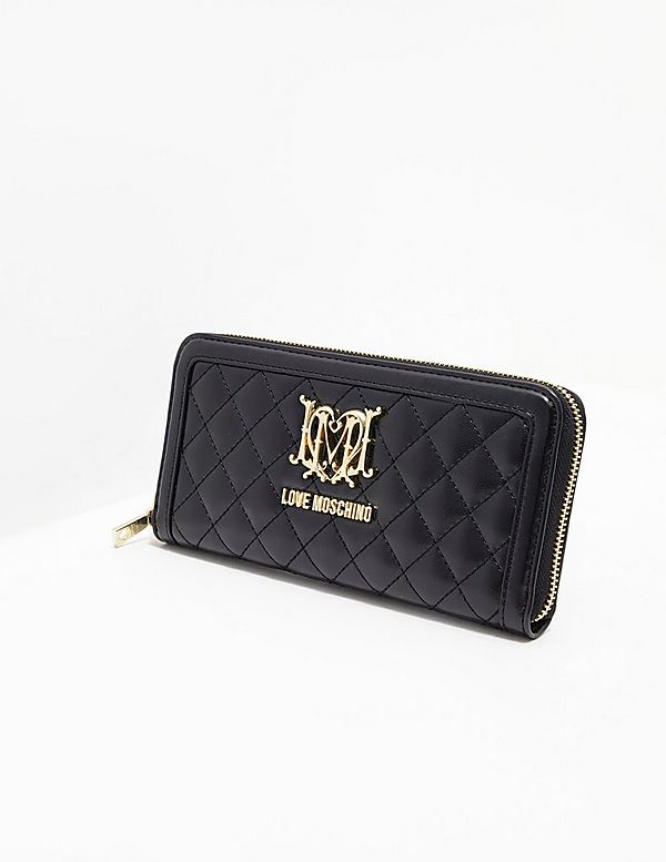 1e0eb88fb566 Love Moschino Quilted Zip Around Purse