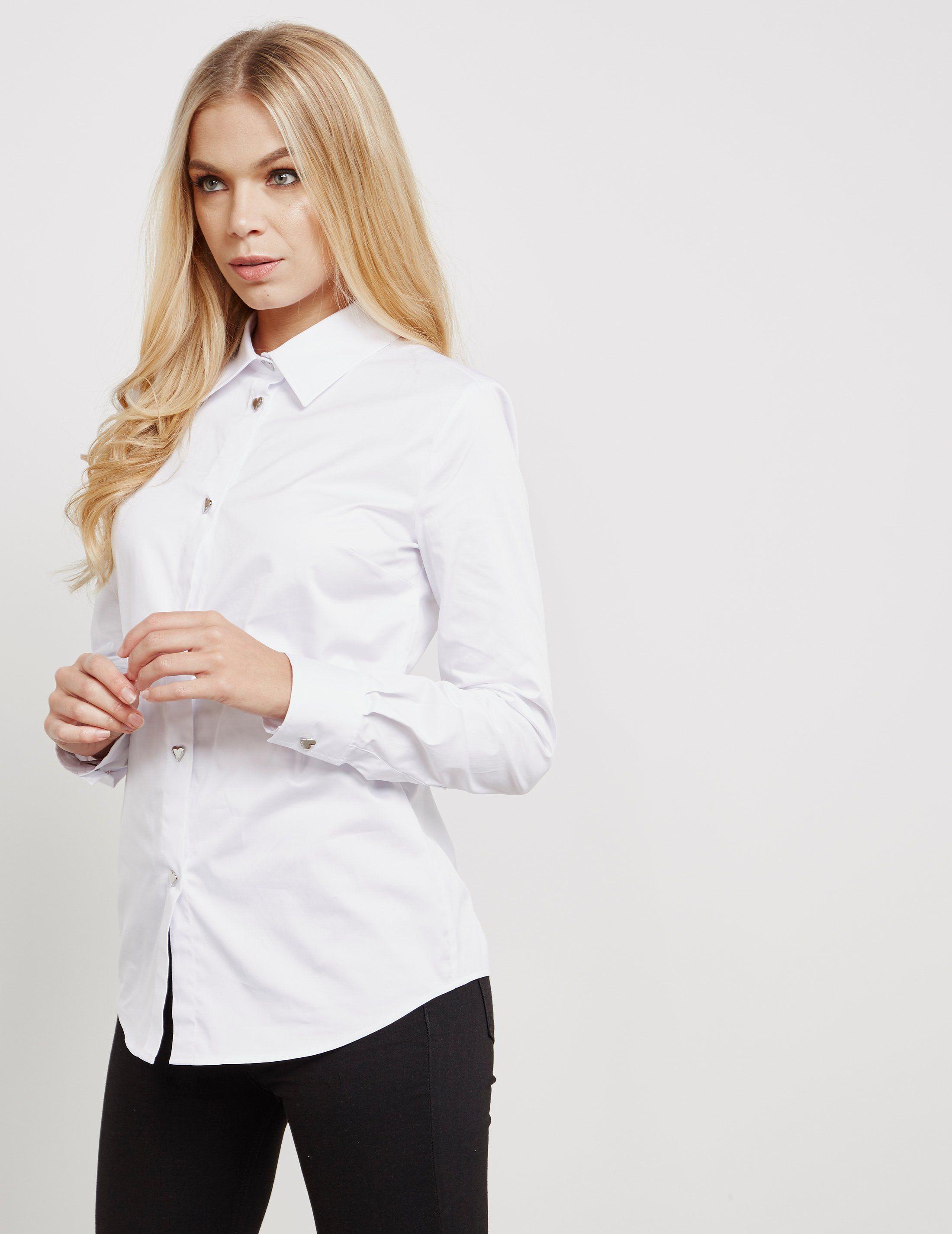 Love Moschino Heart Button Long Sleeve Shirt