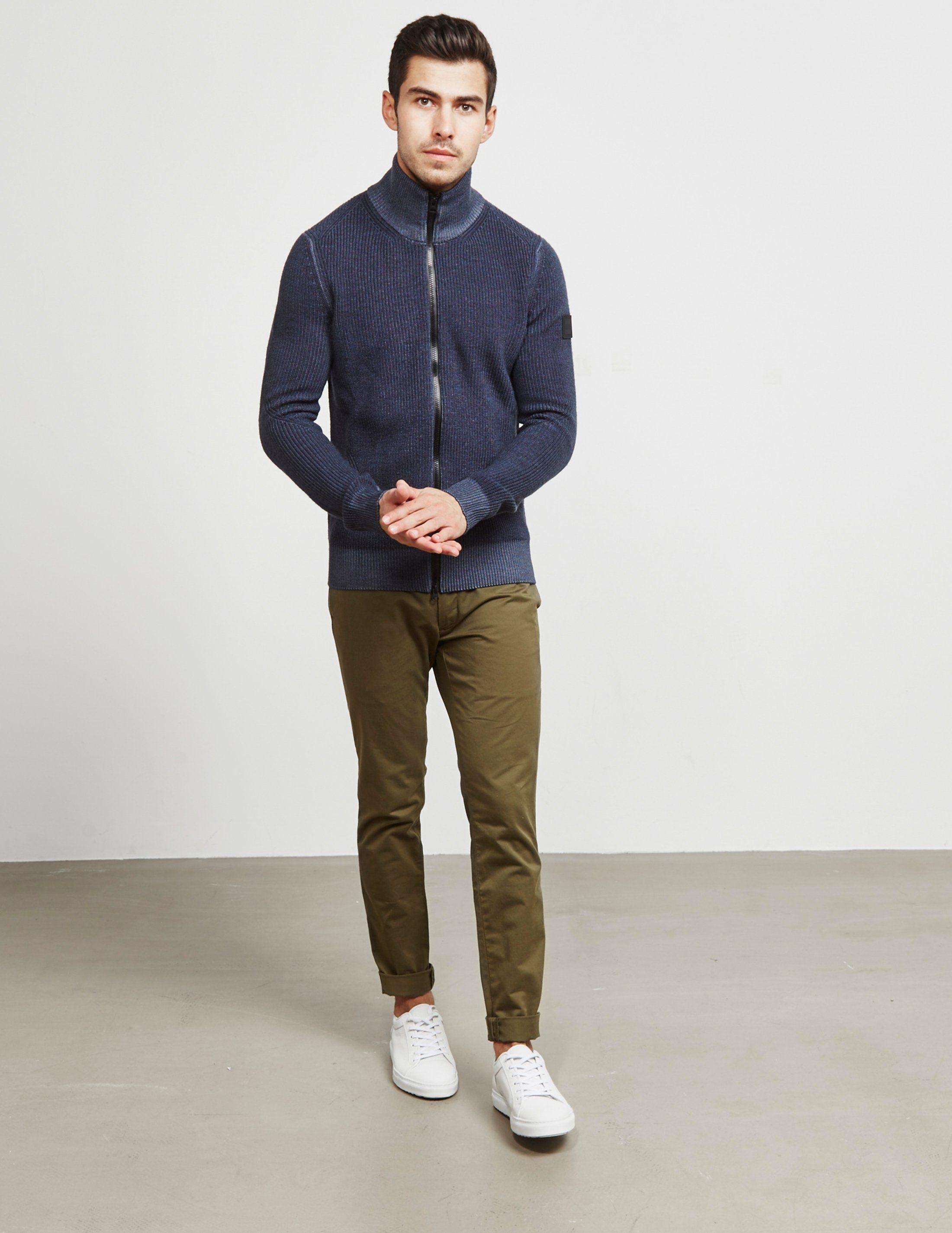 BOSS Afurly Ribbed Full Zip Sweatshirt