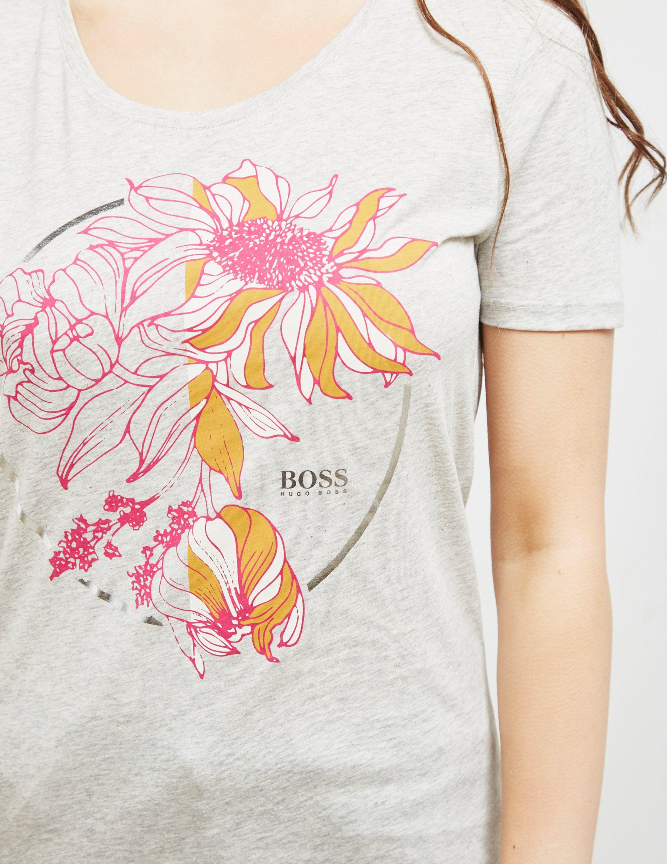 BOSS Flower Print Short Sleeve T-Shirt
