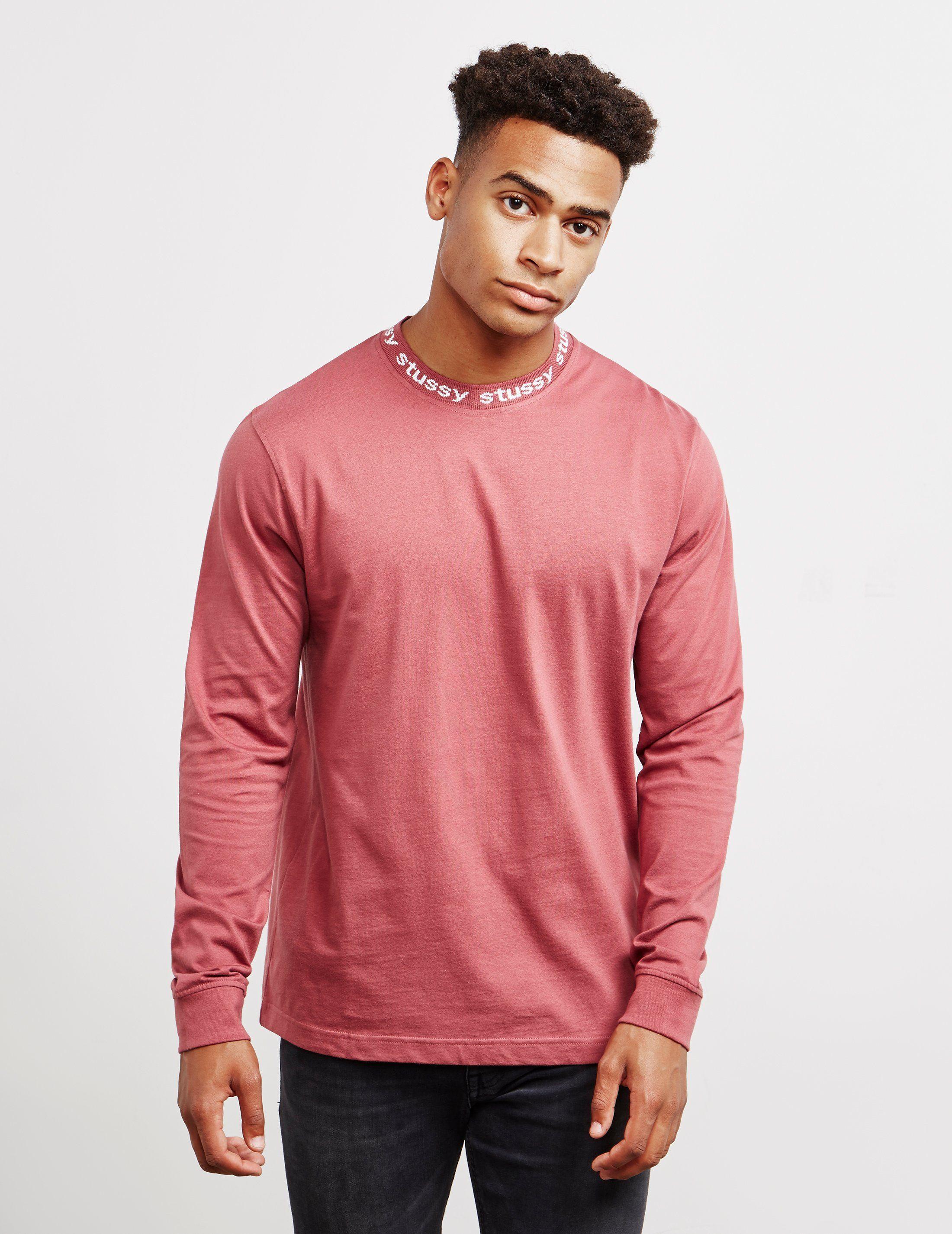 Stussy Logo Neck Long Sleeve T-Shirt