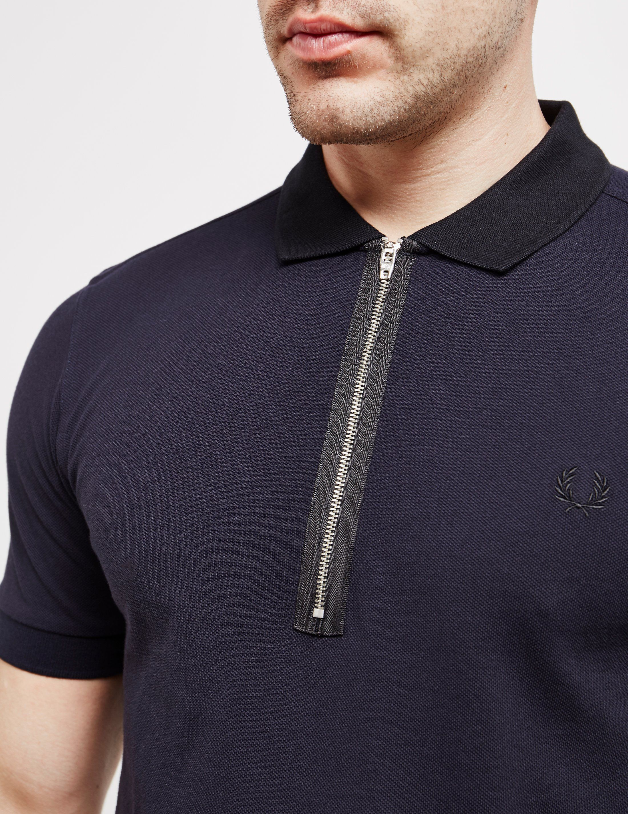 Fred Perry Zip Pique Short Sleeve Polo Shirt