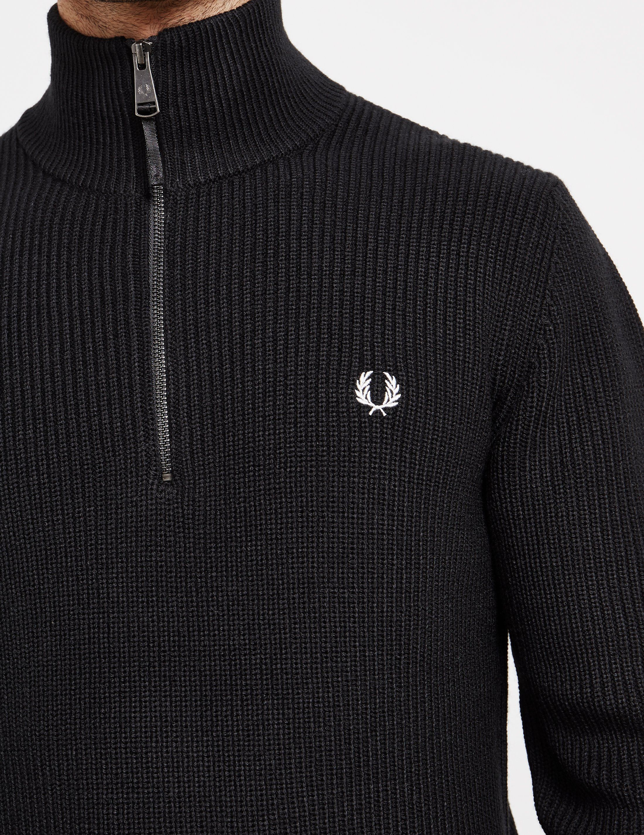 Fred Perry Half Zip Ribbed Knit Jumper