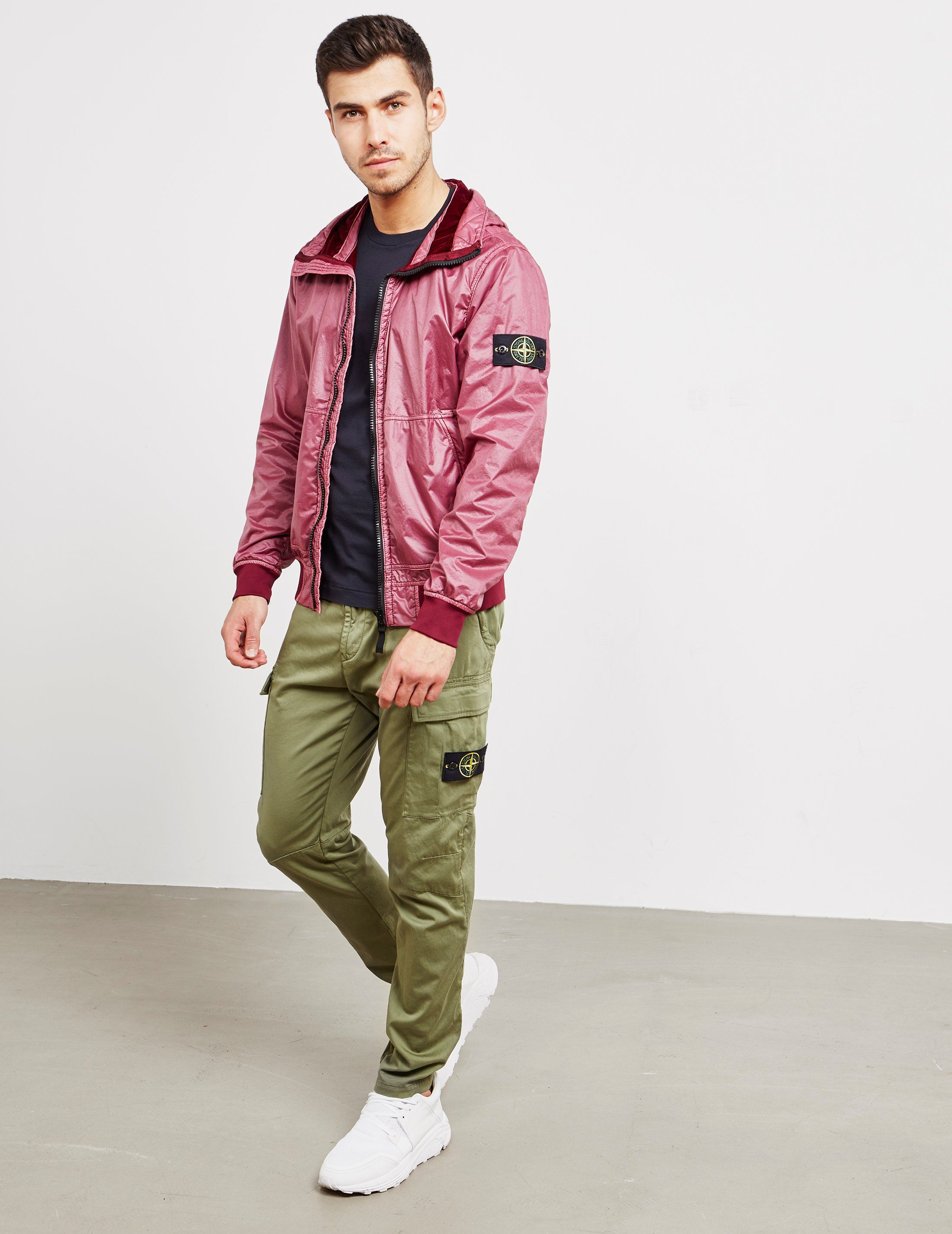 Stone Island Lamy Flocked Hooded Bomber Jacket