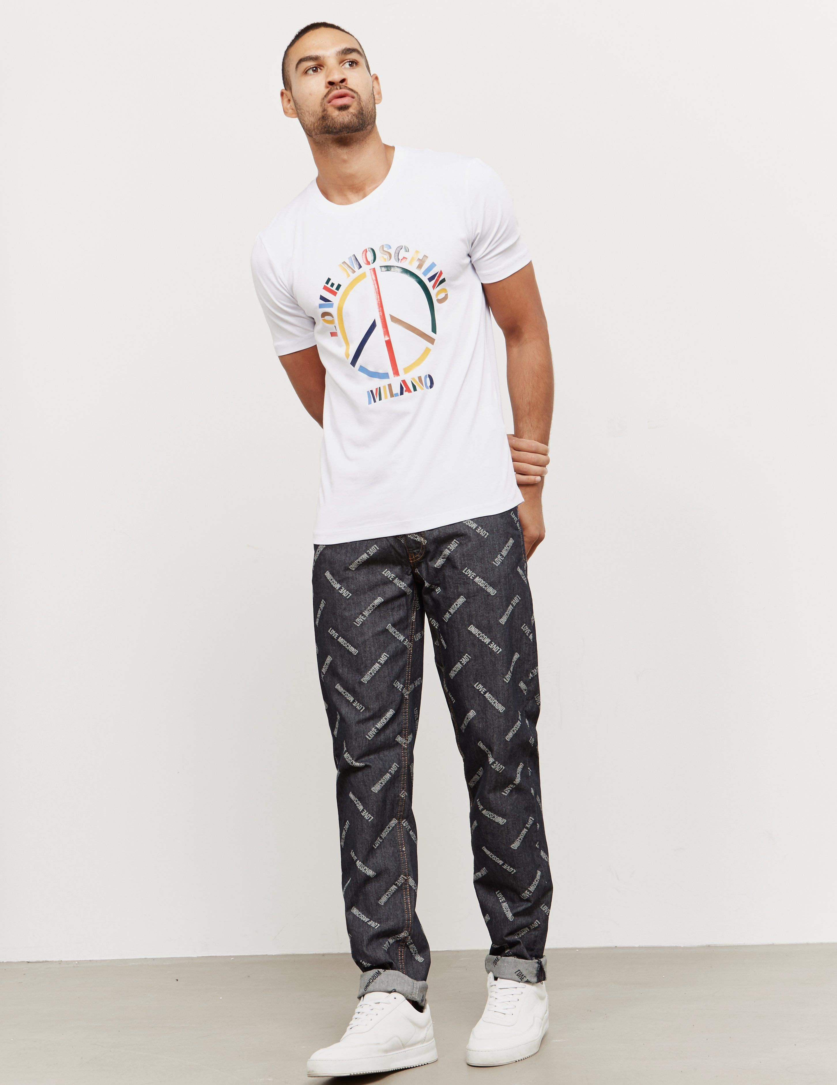 Love Moschino Multi Peace Short Sleeve T-Shirt