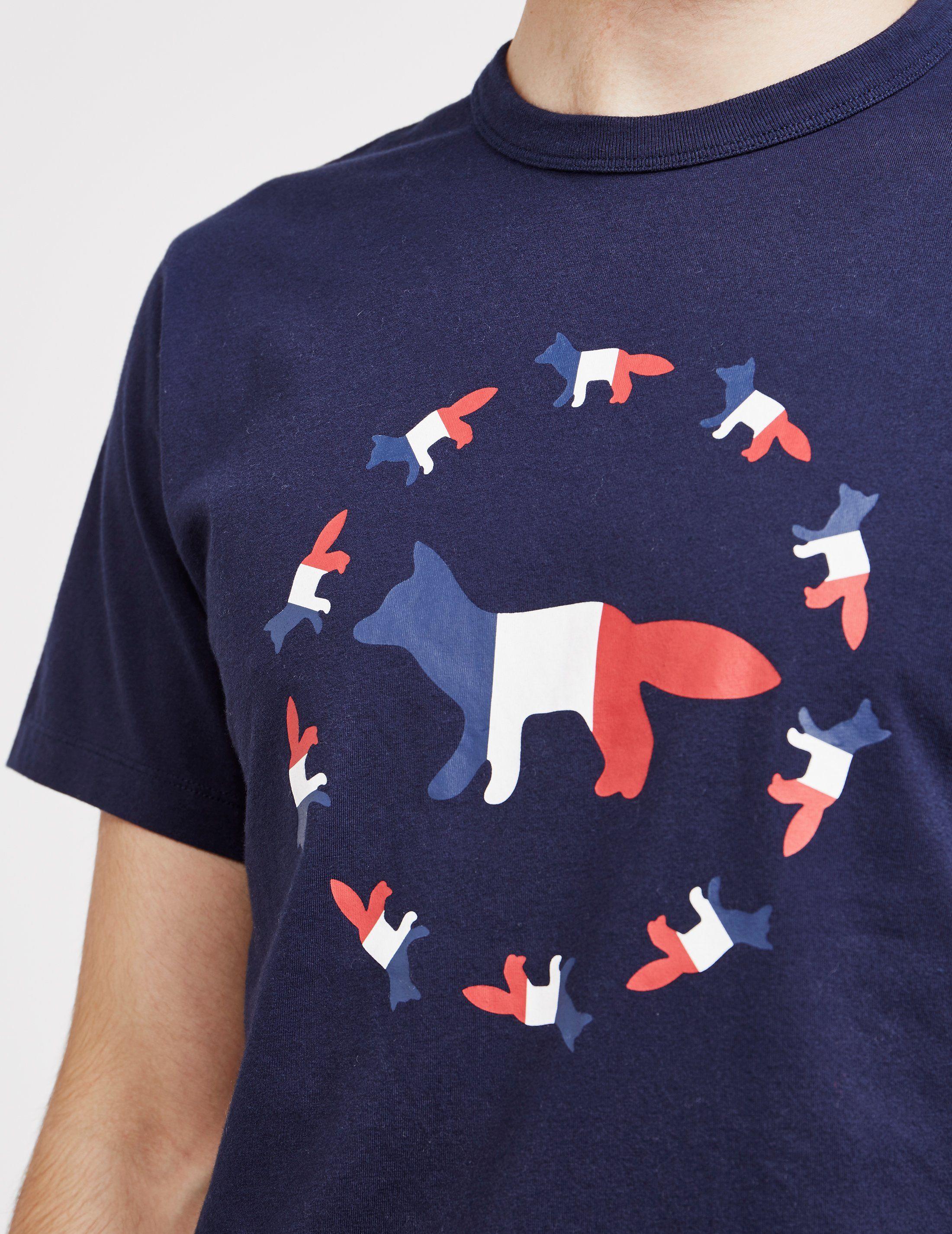 Maison Kitsune Fox Flag Short Sleeve T-Shirt