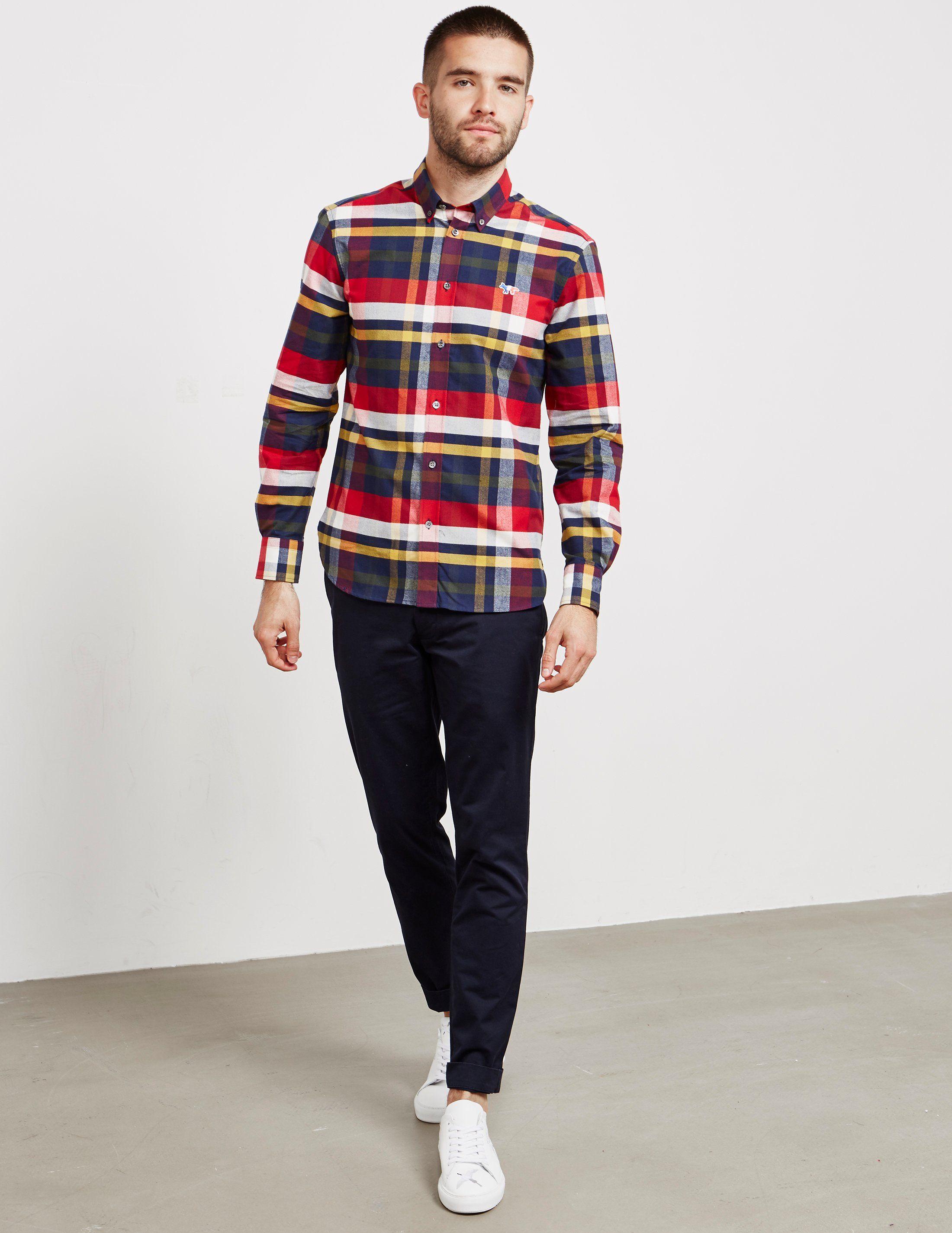 Maison Kitsune Tartan Long Sleeve Shirt