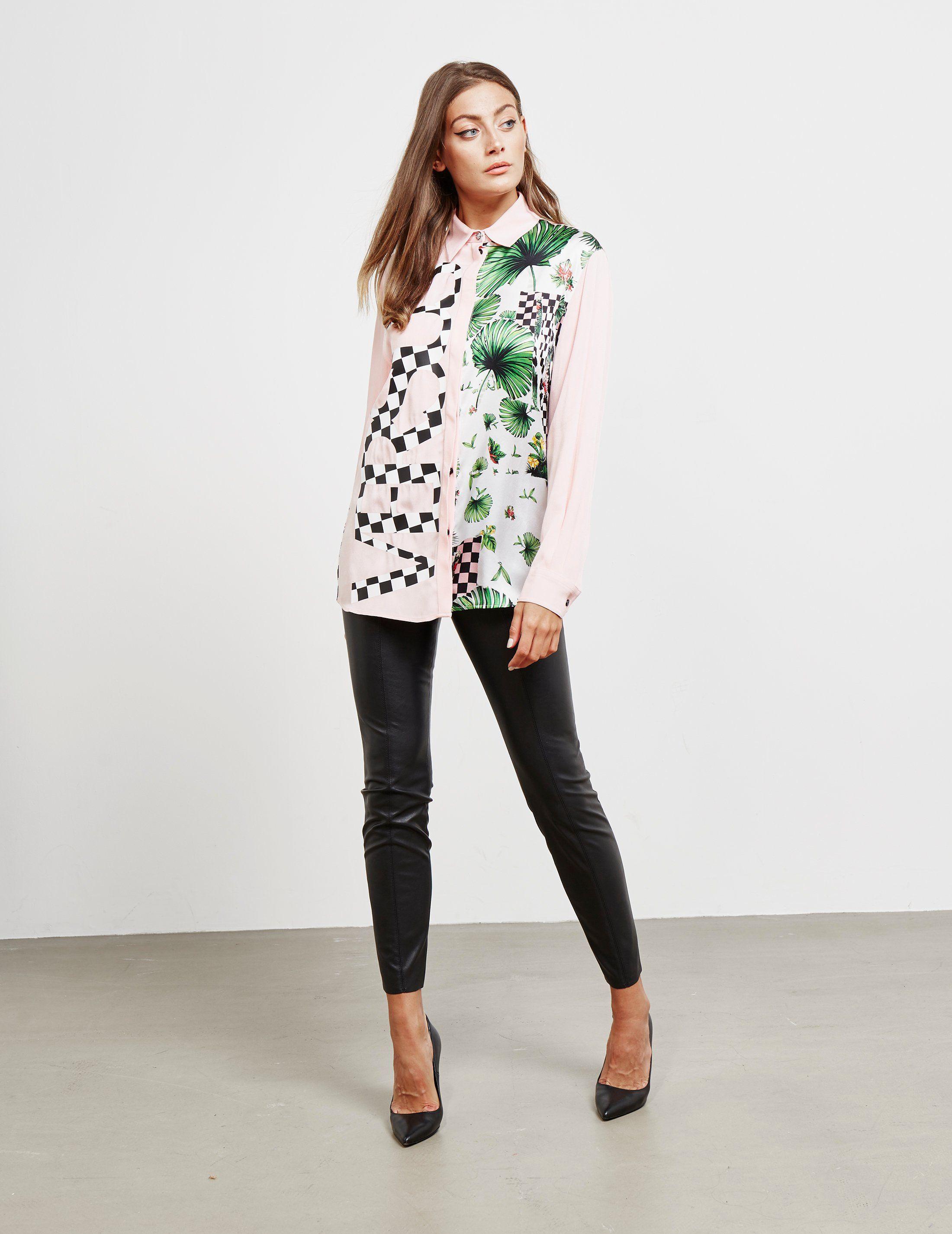 Versus Versace Check Print Long Sleeve Shirt