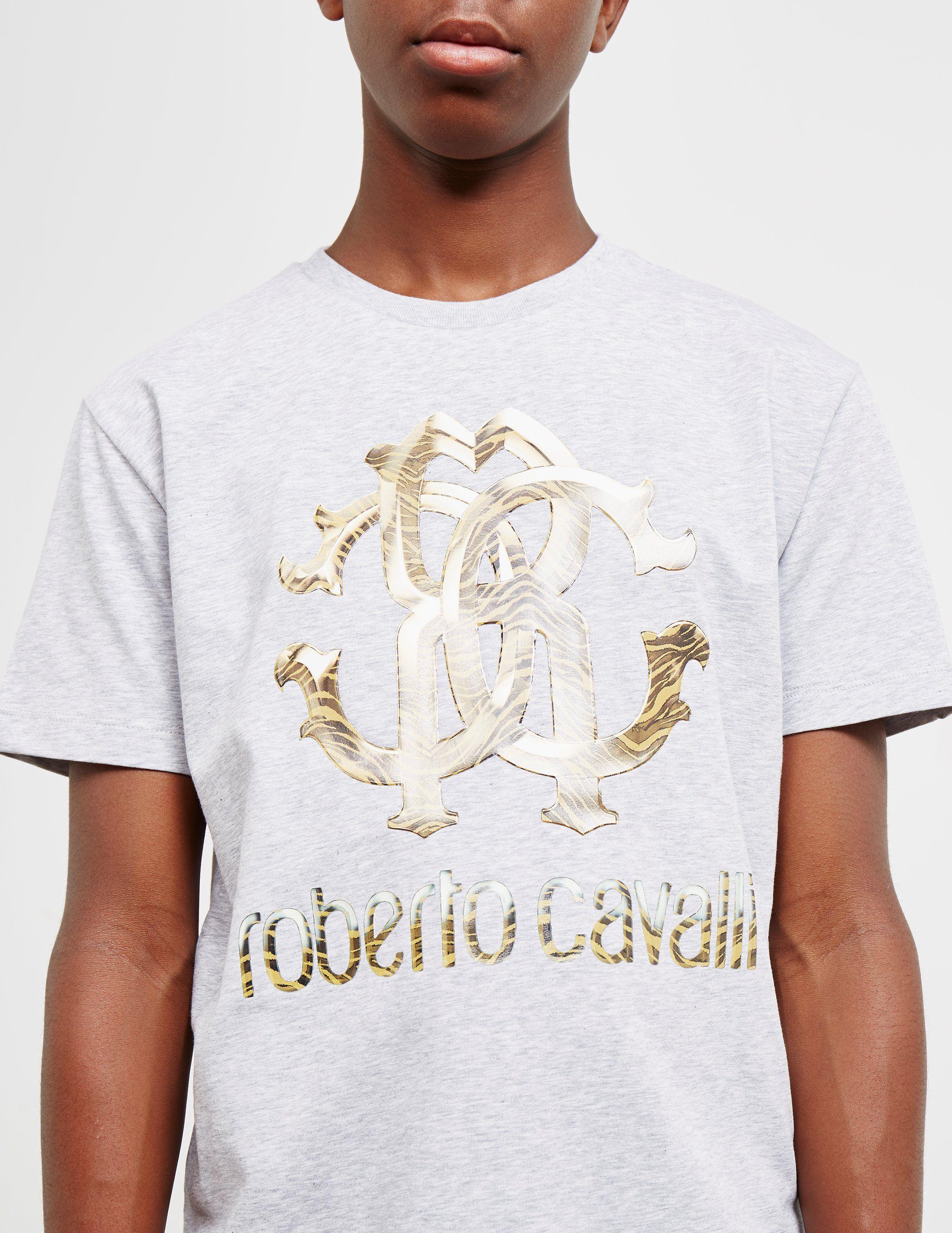Roberto Cavalli Gold Logo Short Sleeve T-Shirt