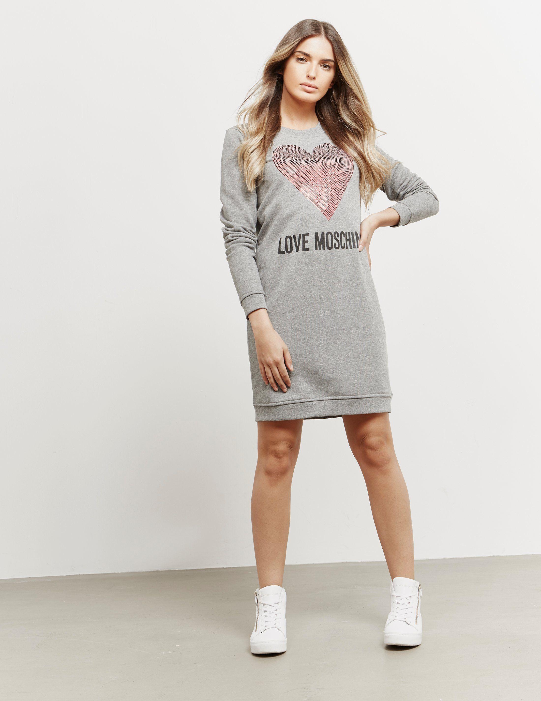 Love Moschino Glitter Heart Sweatshirt Dress