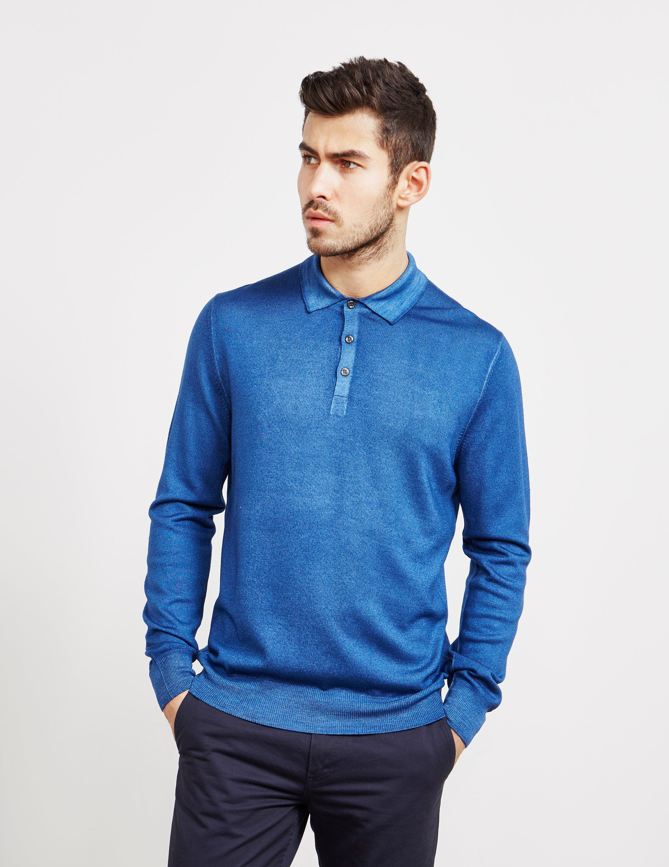Gran Sasso Garment Dyed Long Sleeve Polo Shirt