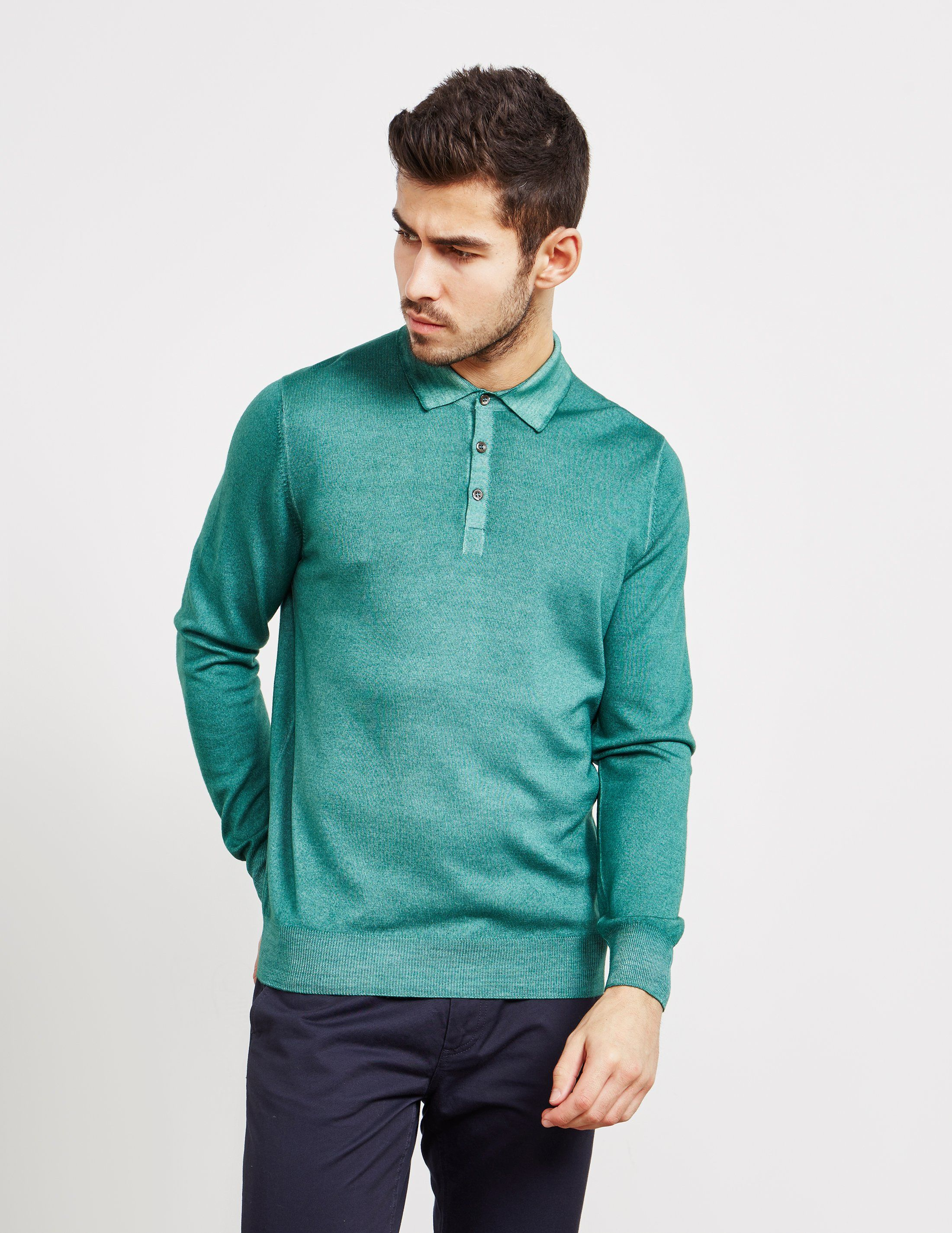 Gran Sasso Garment Dyed Long Sleeve Polo Shirt