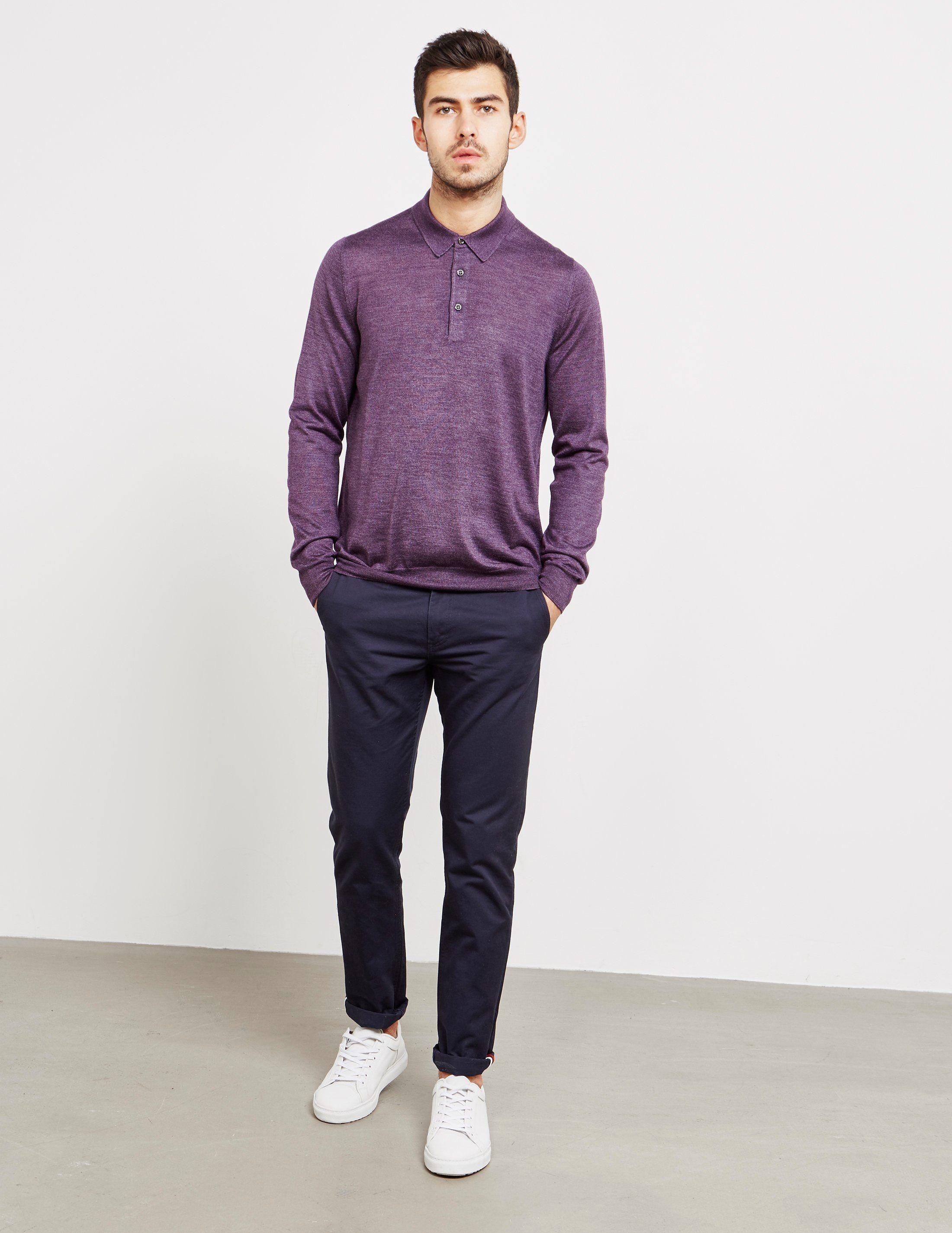 Gran Sasso Silk Long Sleeve Polo Shirt