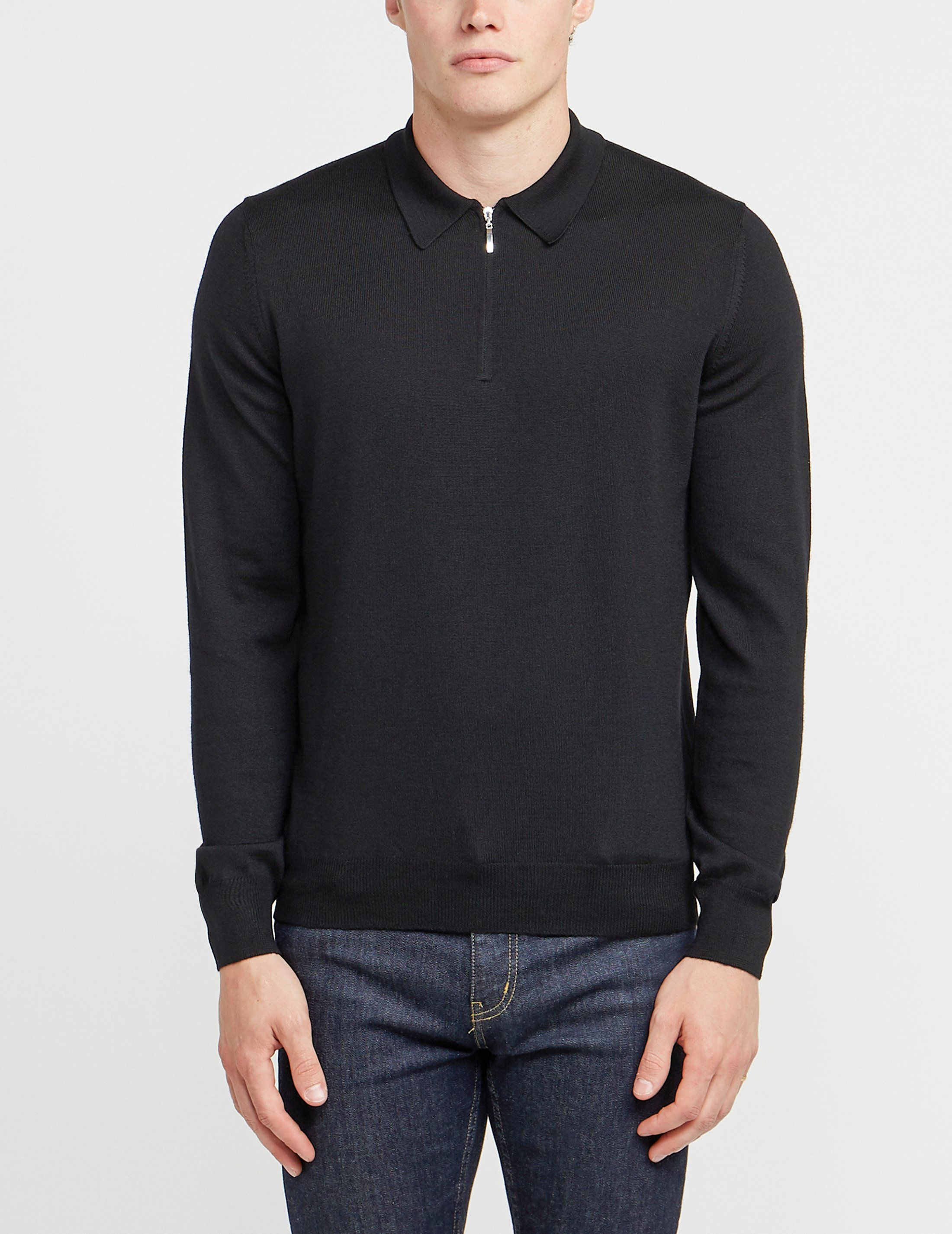 Gran Sasso Zip Long Sleeve Polo Shirt