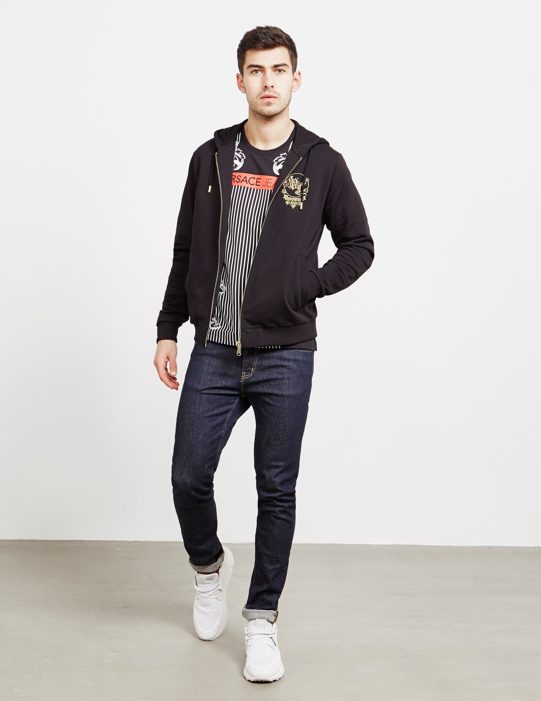 Versace Jeans Stitch Logo Full Zip Hoodie