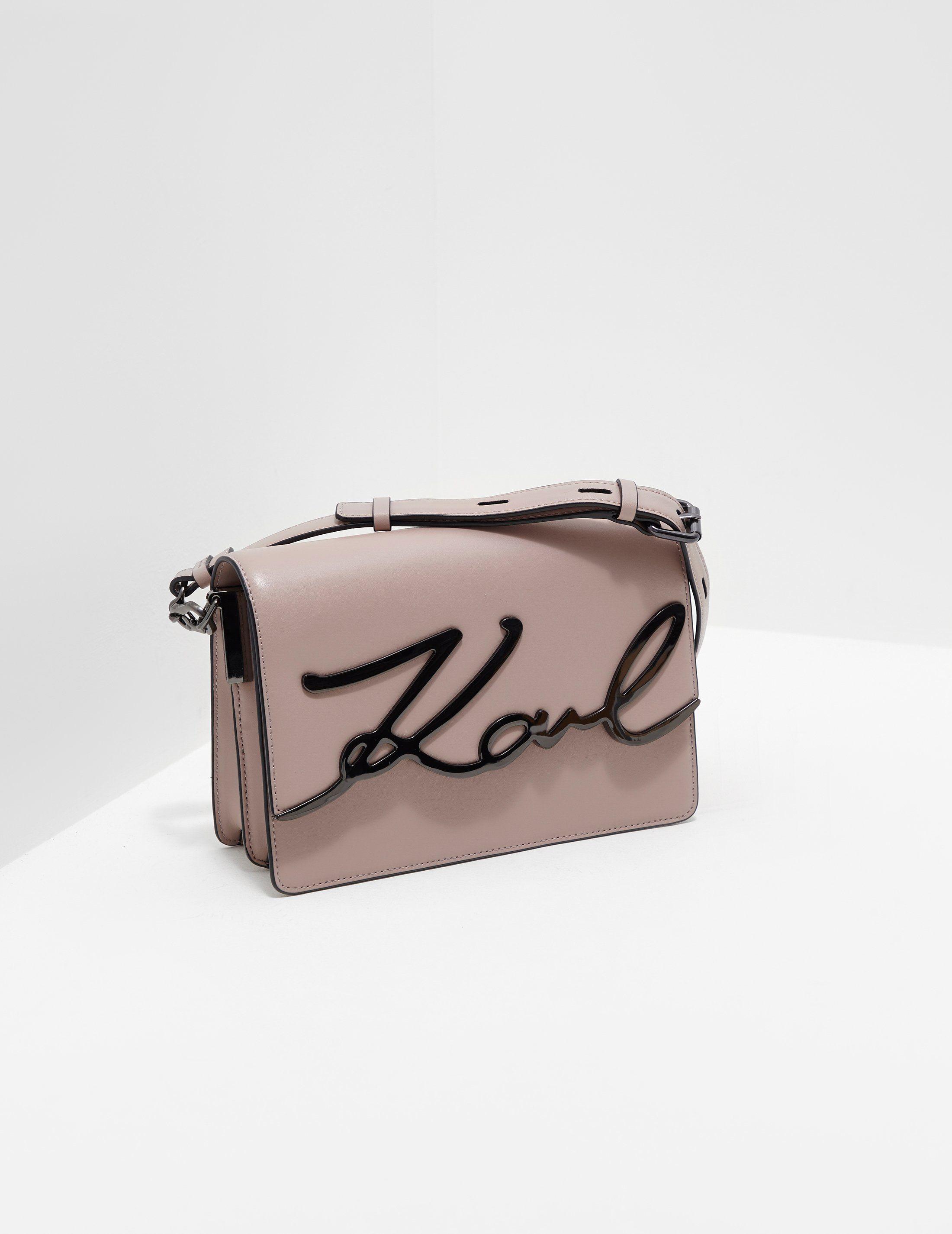 Karl Lagerfeld Signature Leather Shoulder Bag