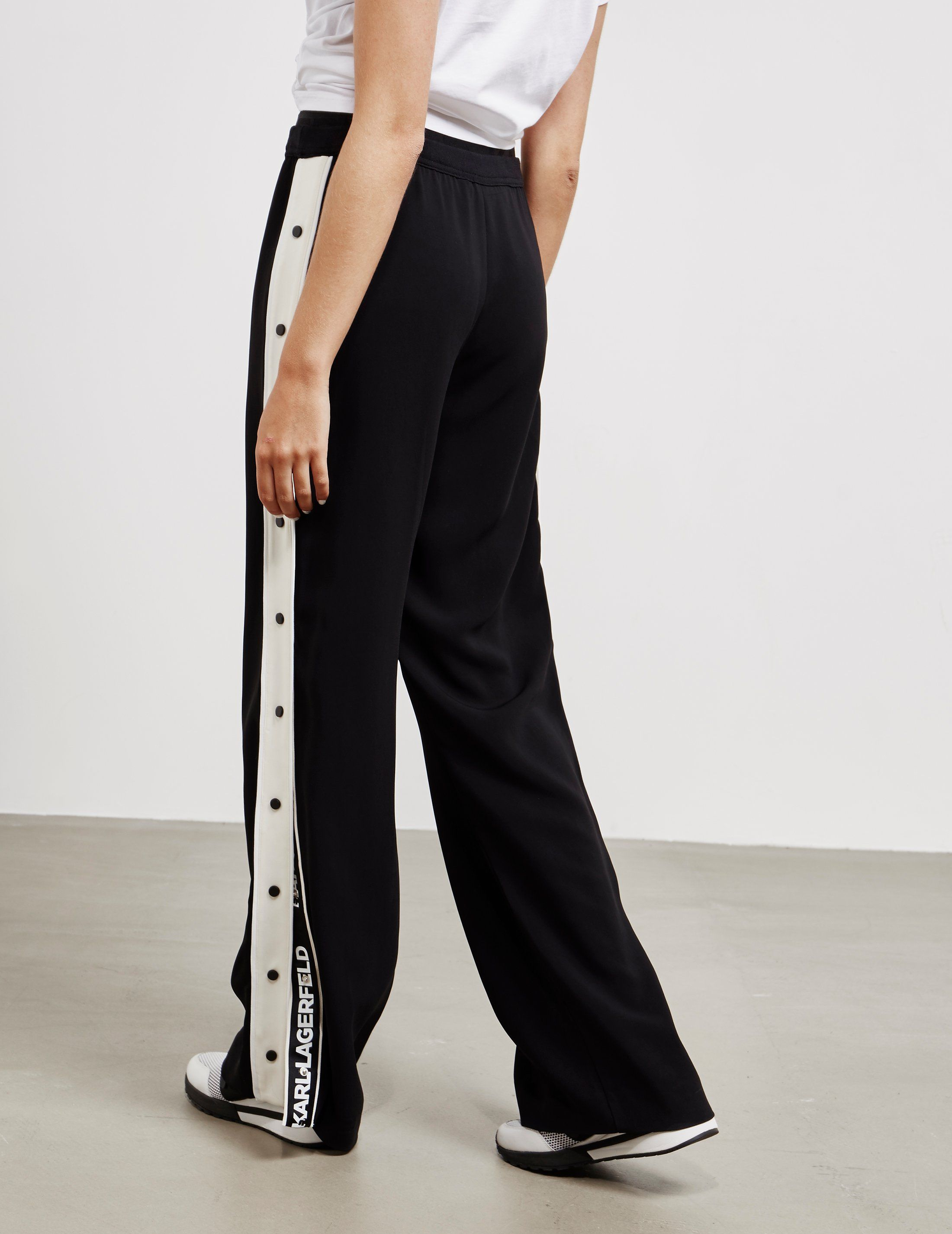 Karl Lagerfeld Wide Leg Popper Pants
