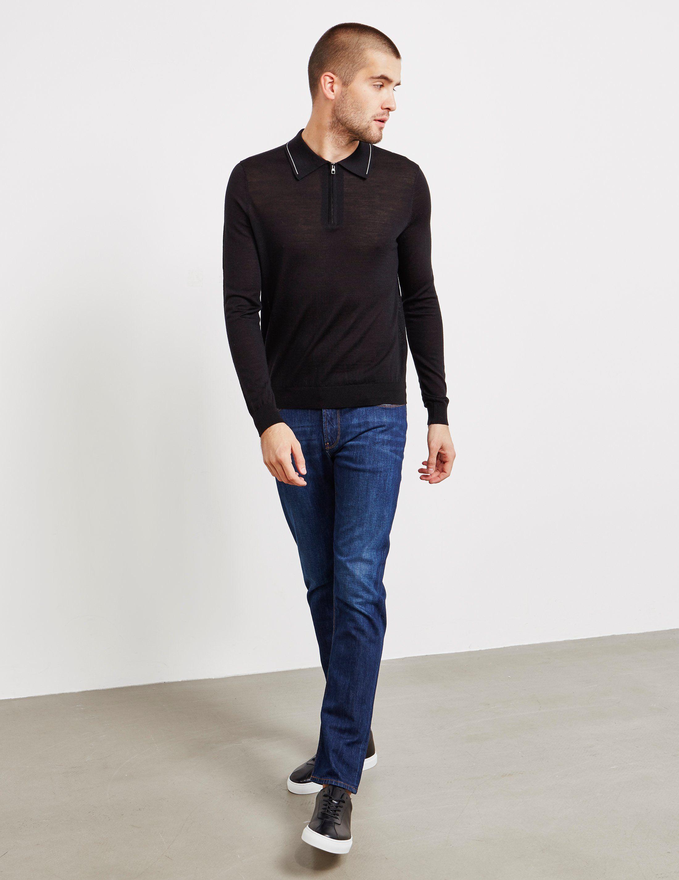 Pal Zileri Zip Placket Long Sleeve Polo Shirt