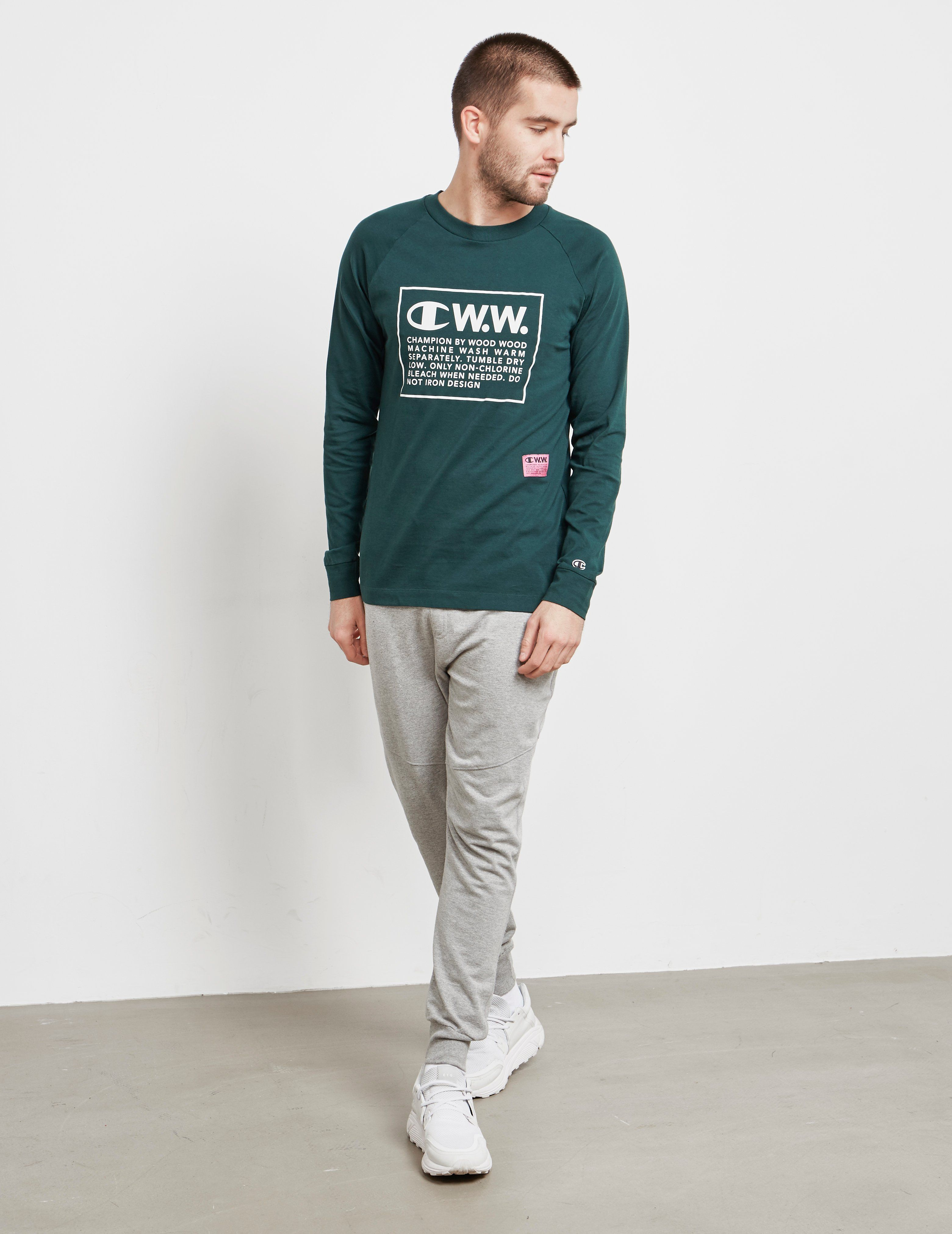 Champion x Wood Wood Box Logo Long Sleeve T-Shirt