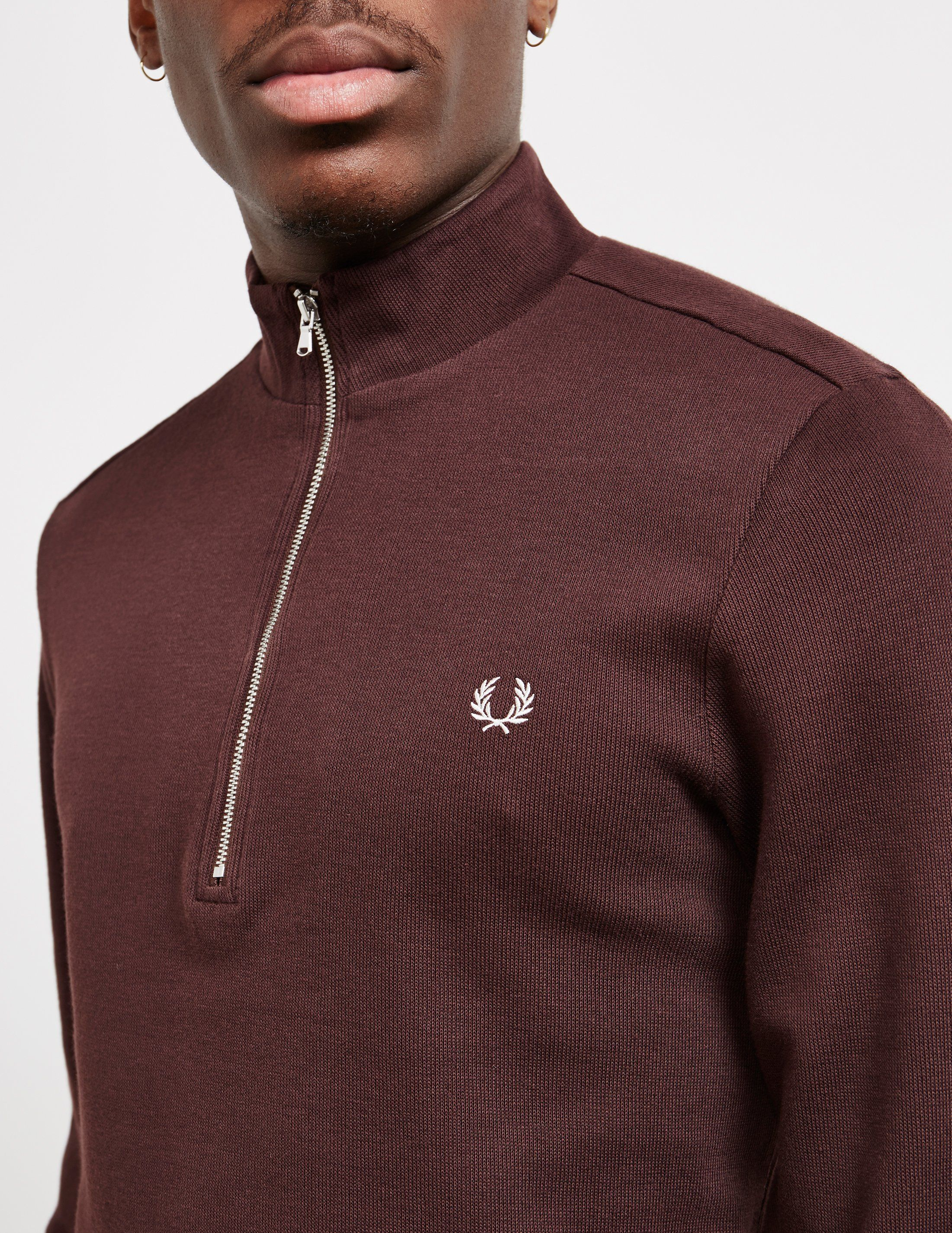 Fred Perry Funnel Neck Ribbed Half Zip Sweatshirt