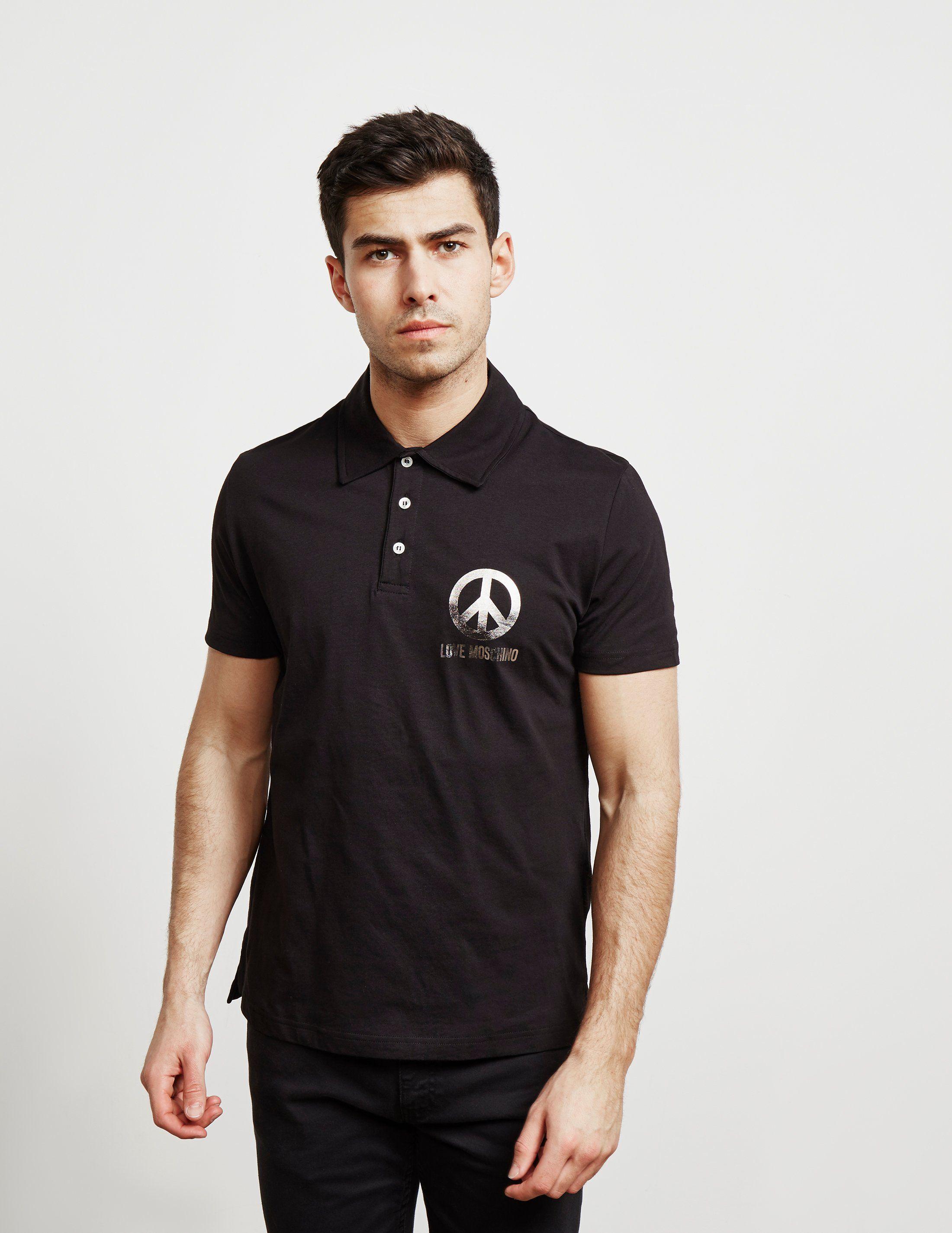 Love Moschino Foil Logo Short Sleeve Polo Shirt