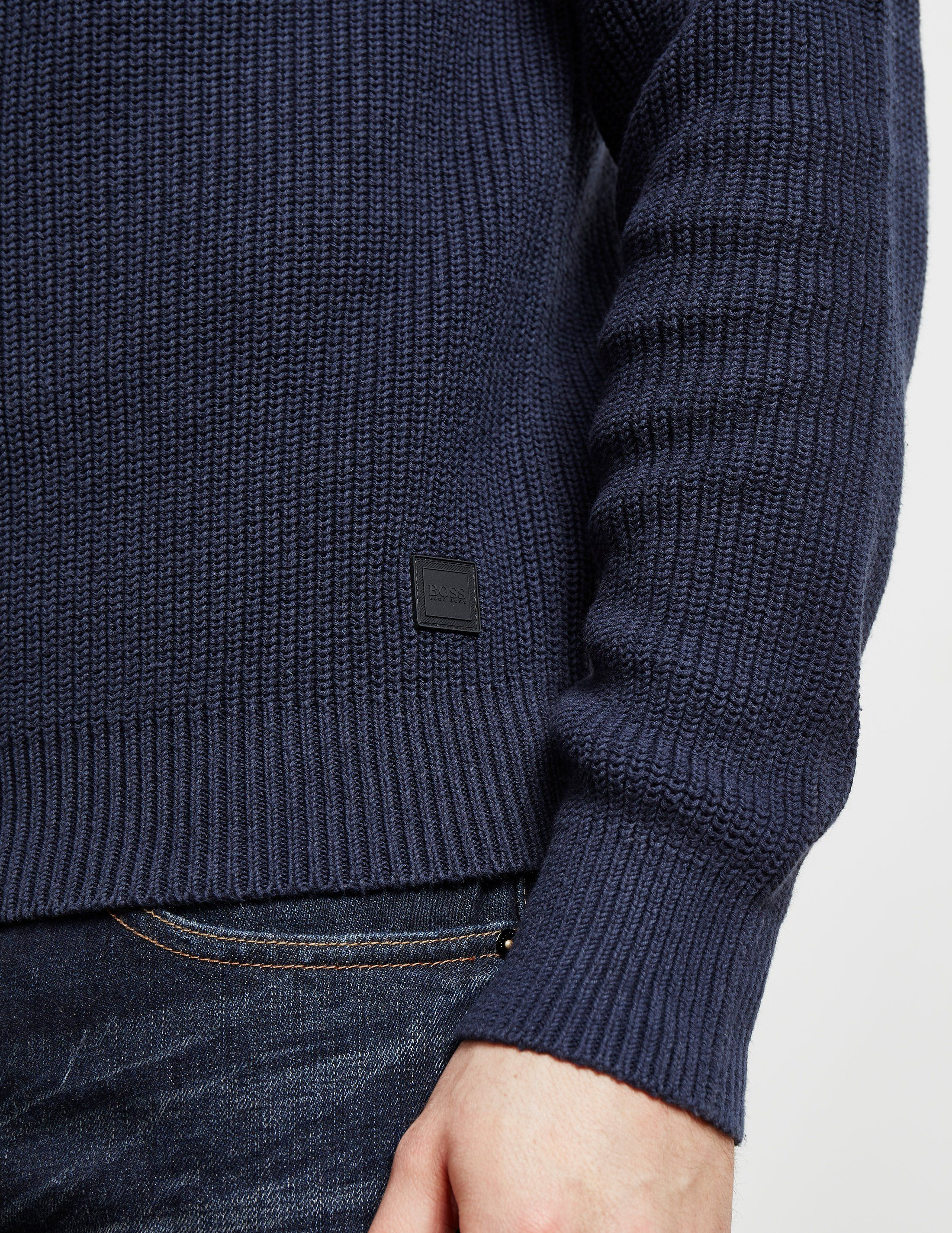 BOSS Karby Ribbed Half Zip Knit