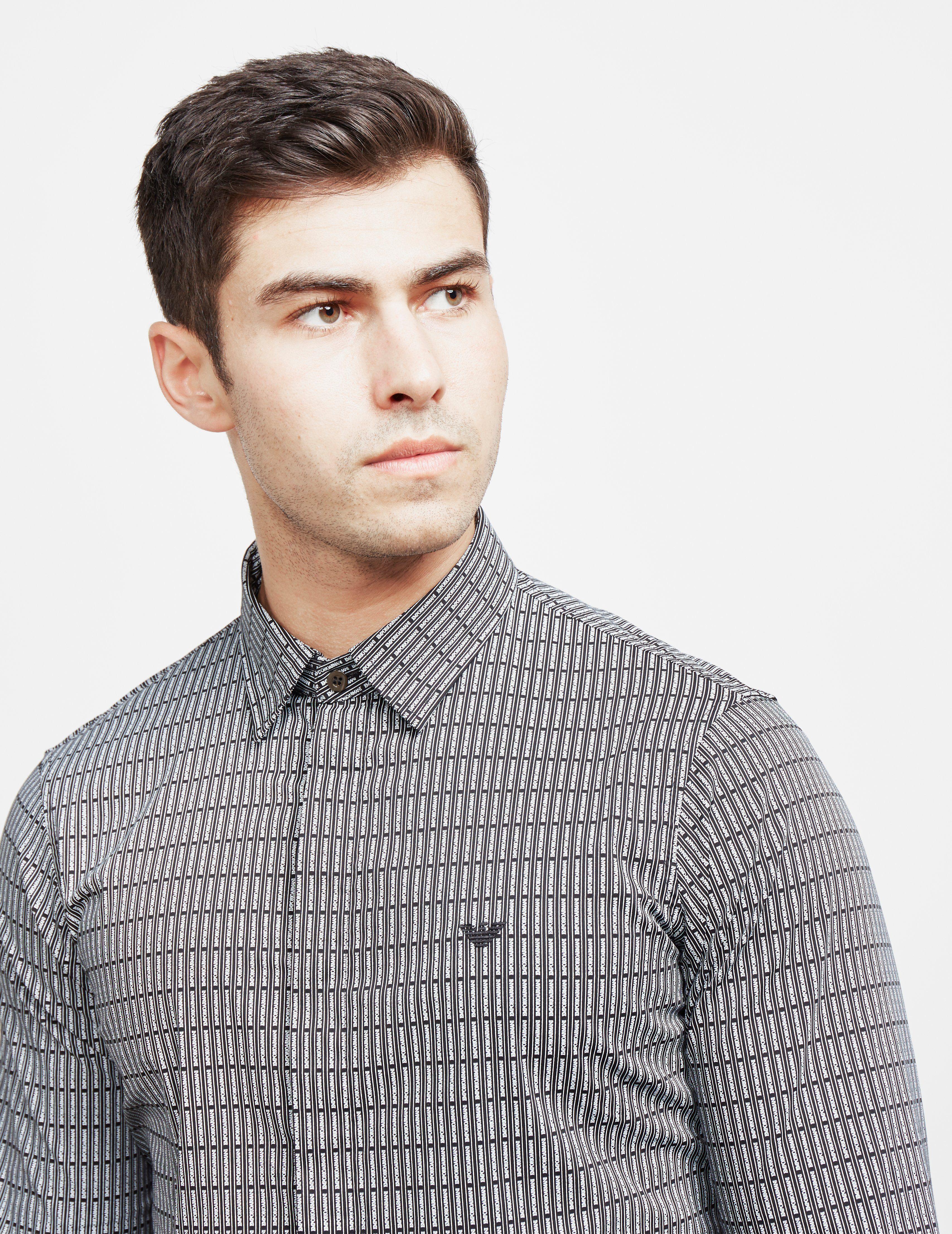 Emporio Armani All Over Line Long Sleeve Shirt