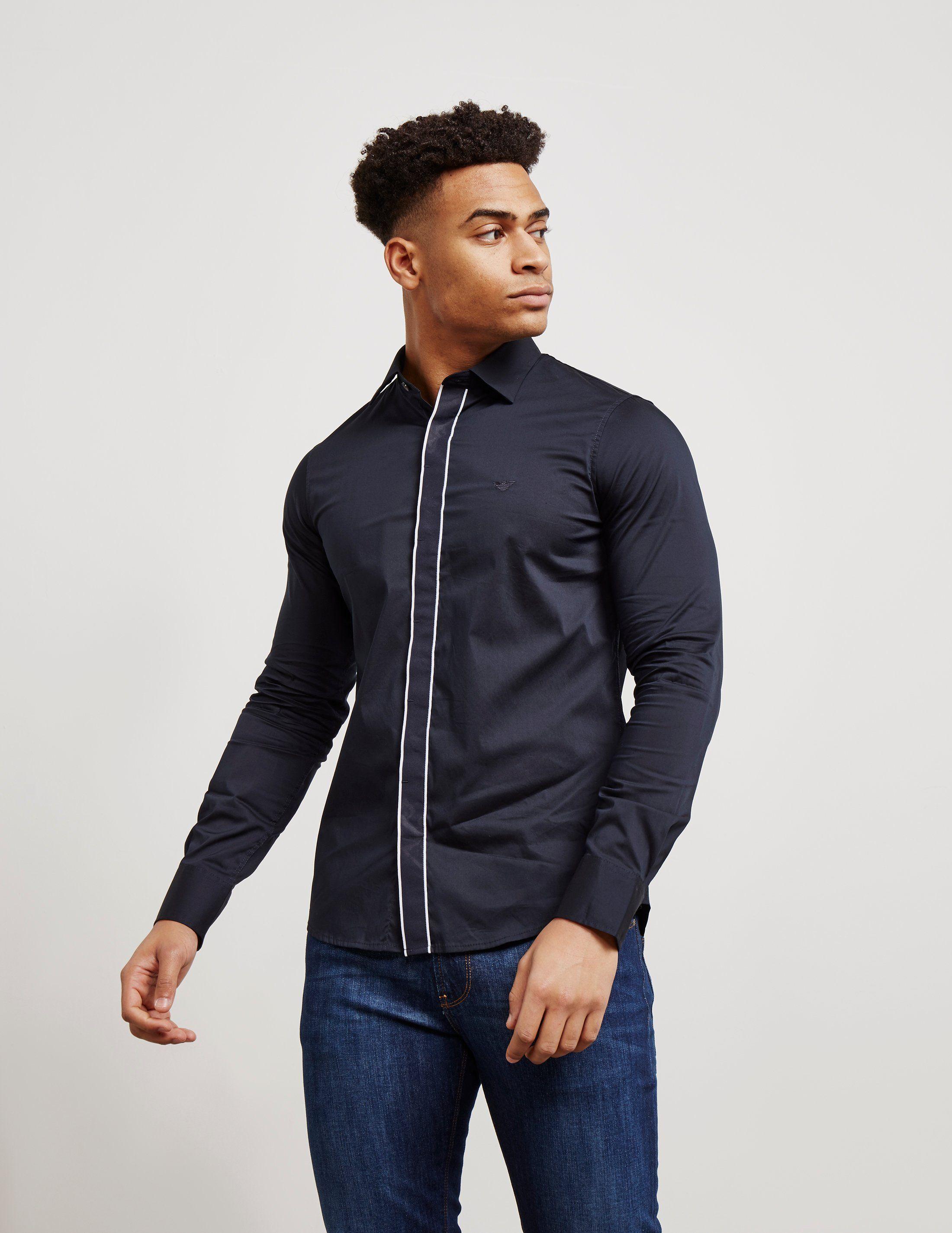 Emporio Armani Tipped Placket Long Sleeve Shirt