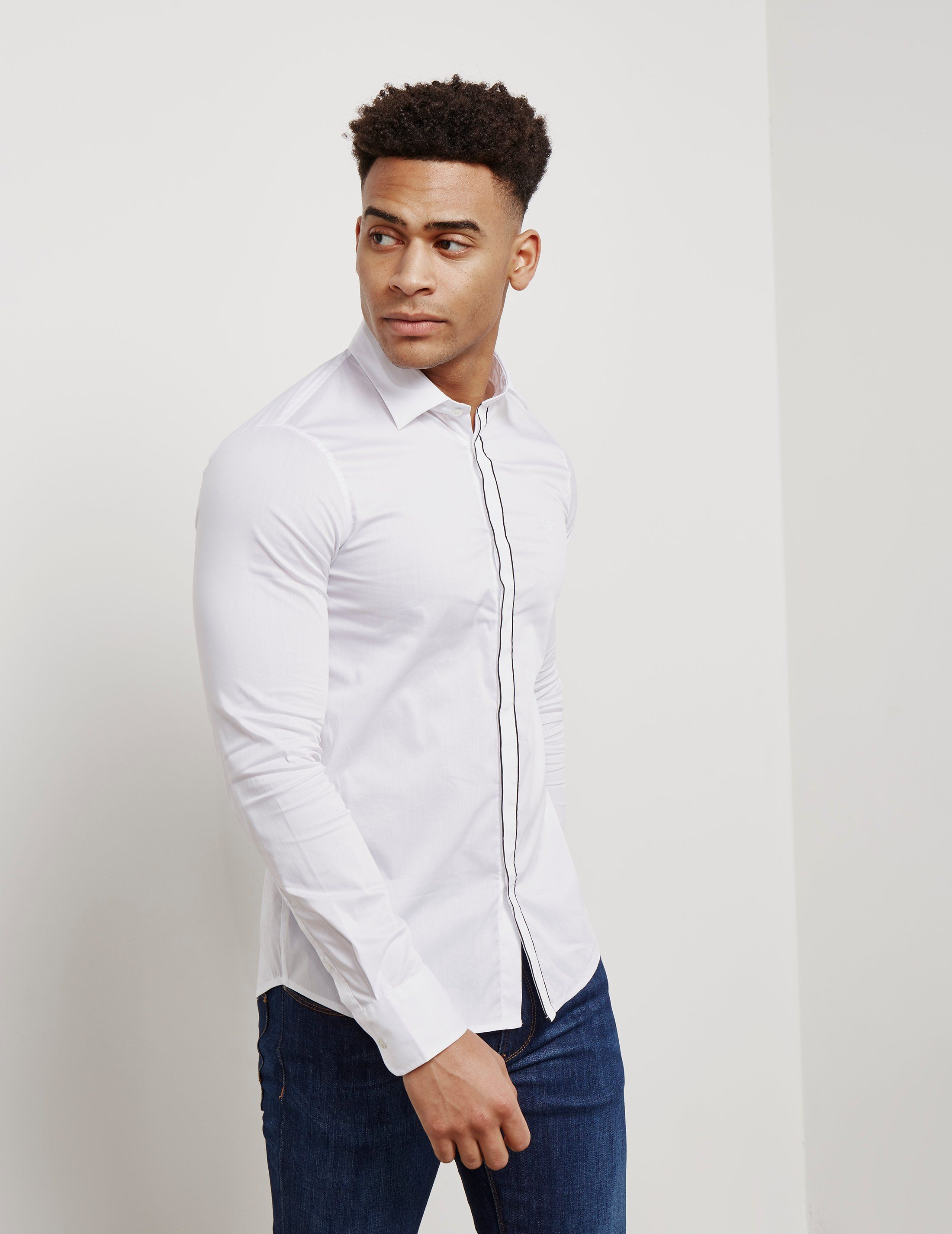 Emporio Armani Tipped Placket Long Sleeve Shirt