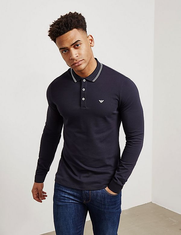 Emporio Armani Tipped Long Sleeve Polo Shirt  aebed2d2b6