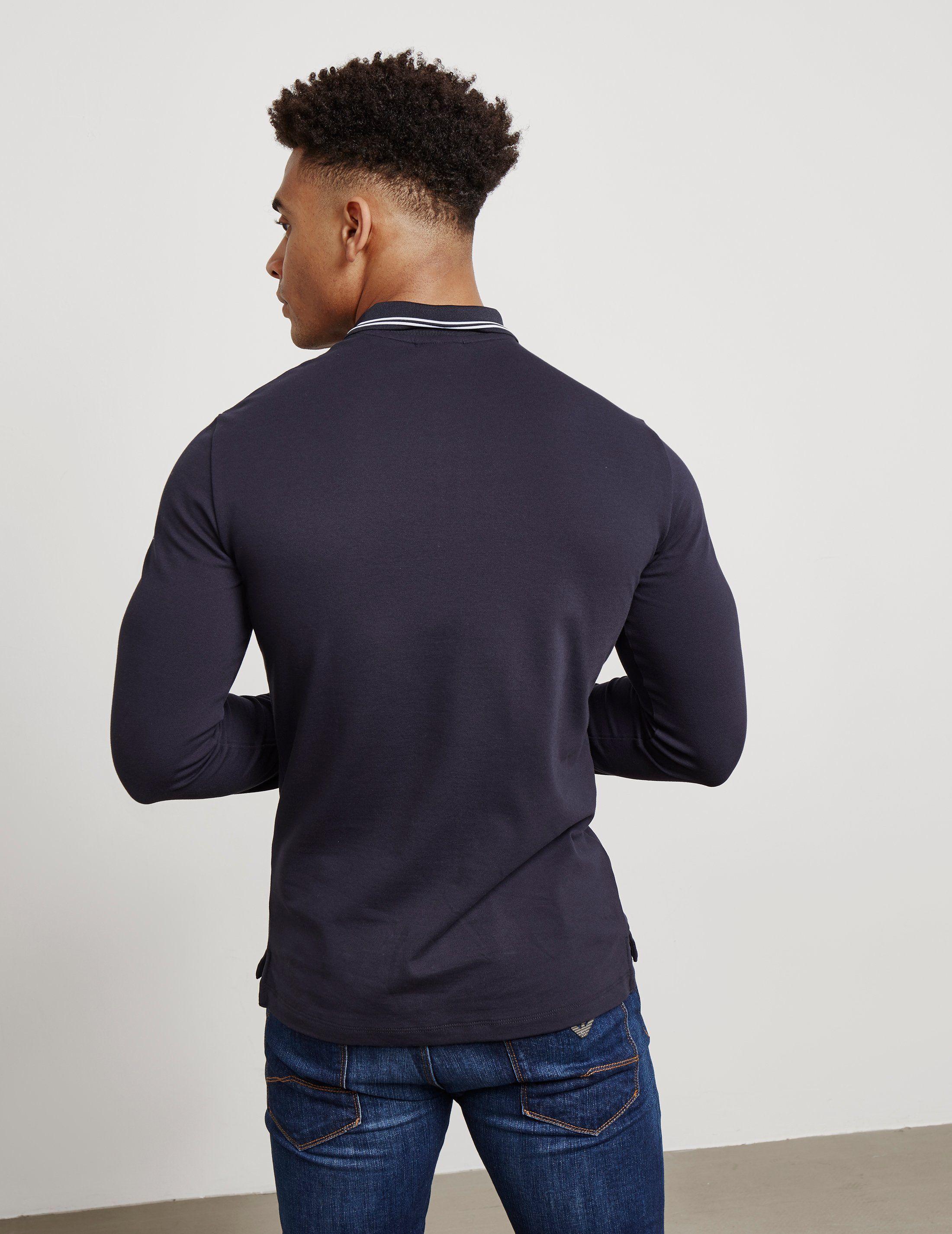 Emporio Armani Tipped Long Sleeve Polo Shirt