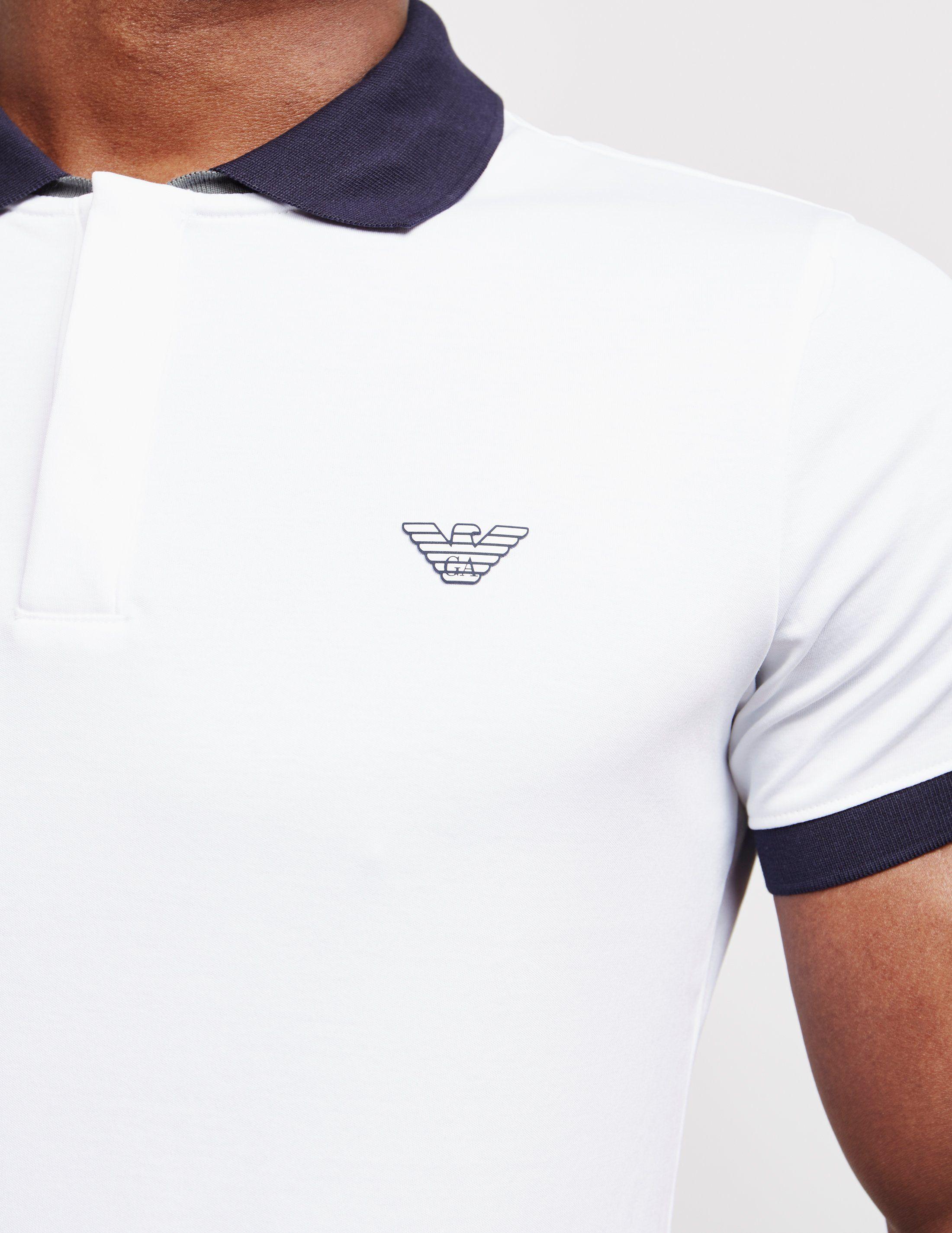 Emporio Armani Contrast Collar Short Sleeve Polo Shirt