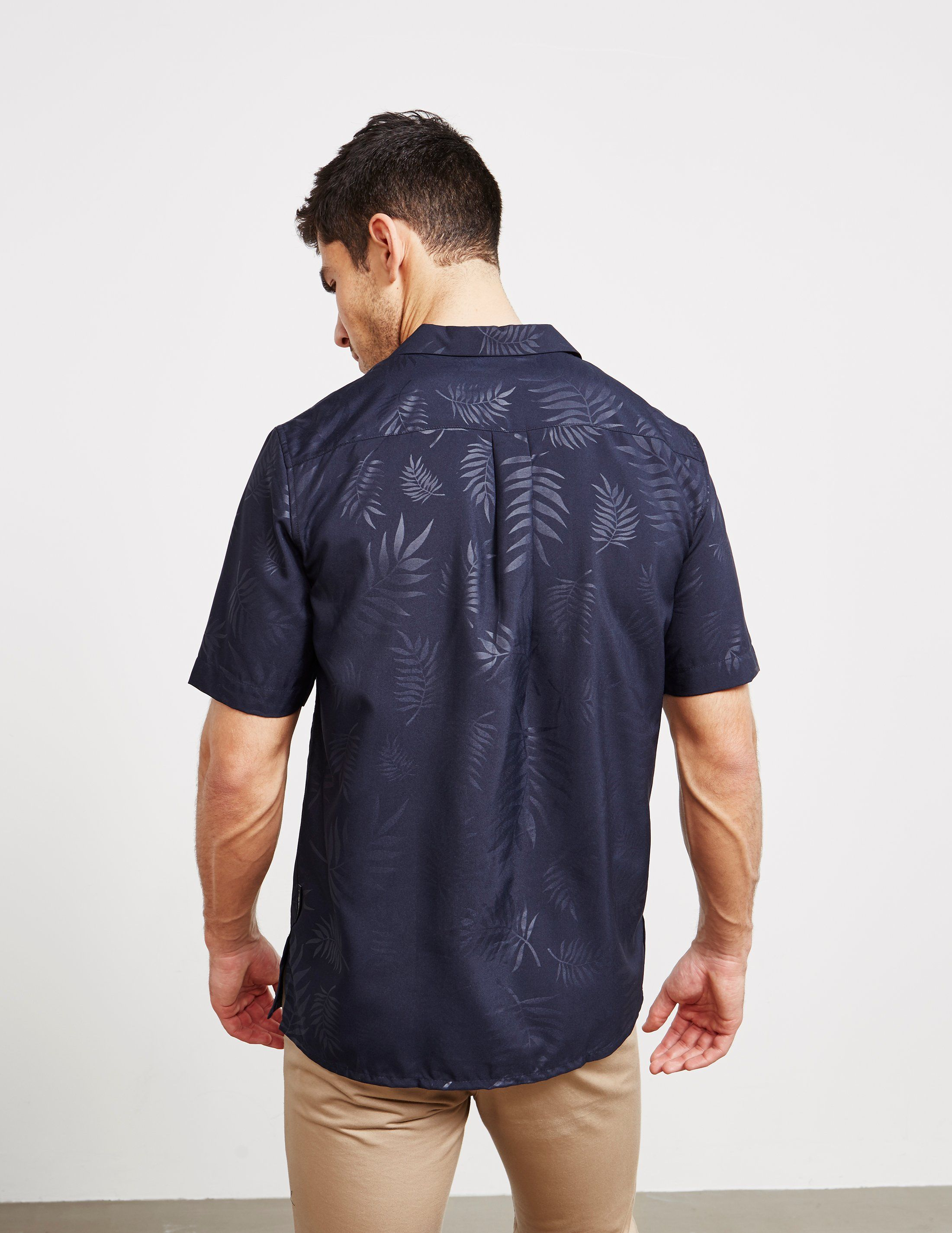 Emporio Armani Palm Print Short Sleeve Shirt - Online Exclusive
