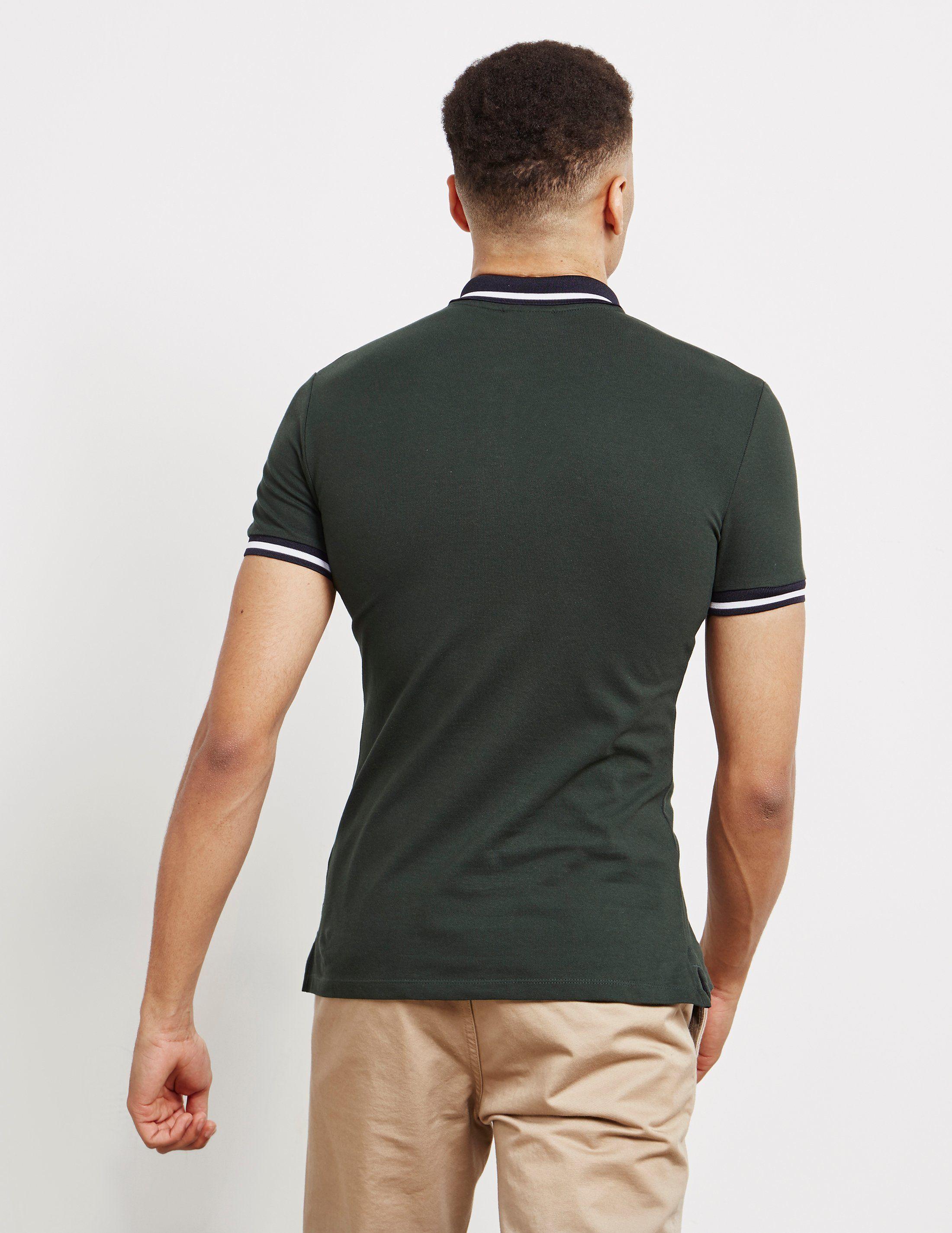 Emporio Armani Tipped Shine Logo Short Sleeve Polo Shirt