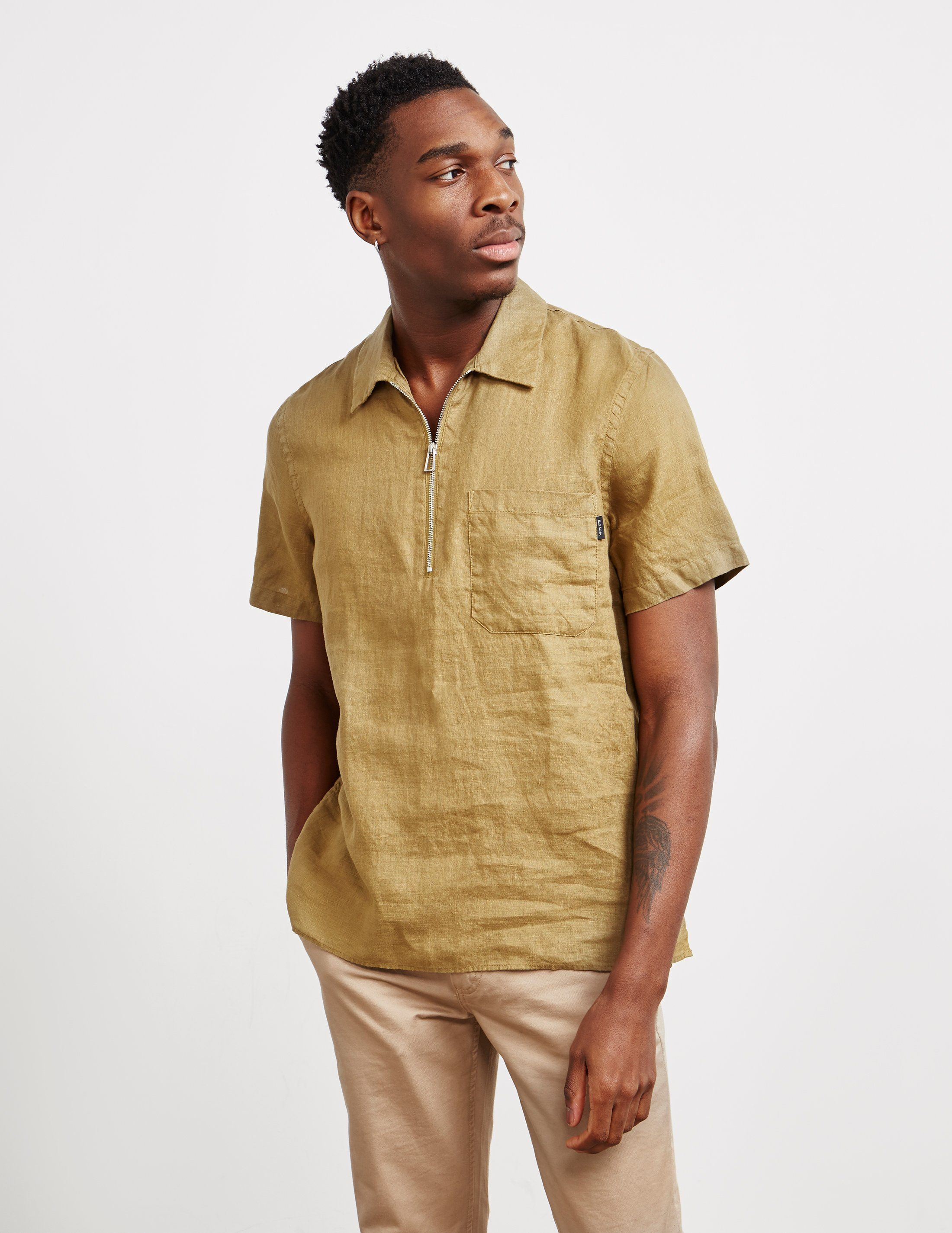 PS Paul Smith Linen Half Zip Short Sleeve Polo Shirt