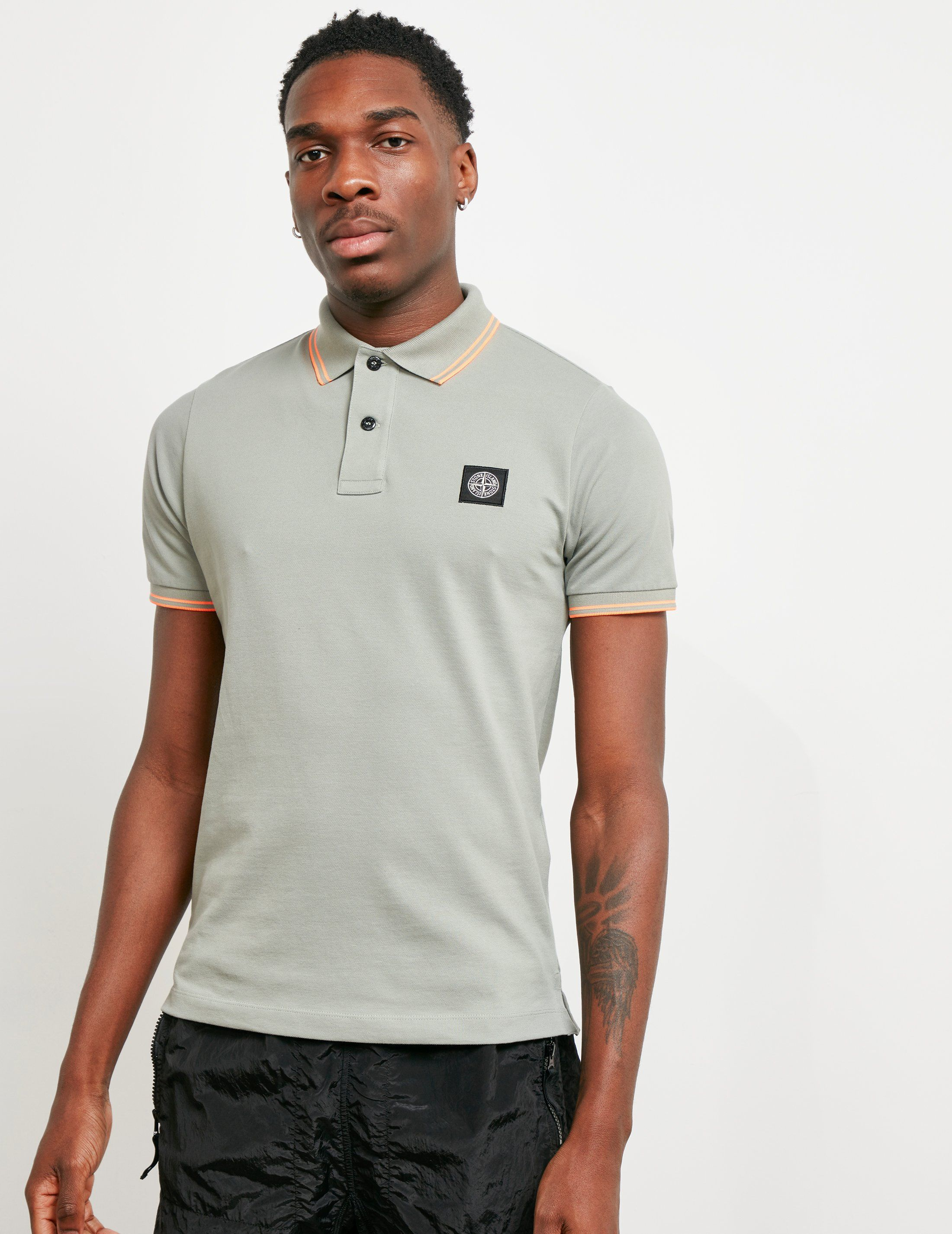 Stone Island Fluorescent Tipped Short Sleeve Polo Shirt